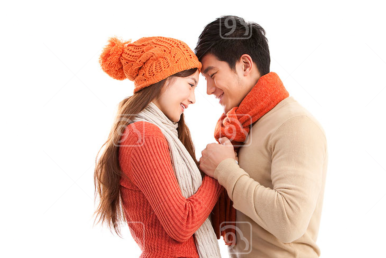 Young Chinese couple face to face