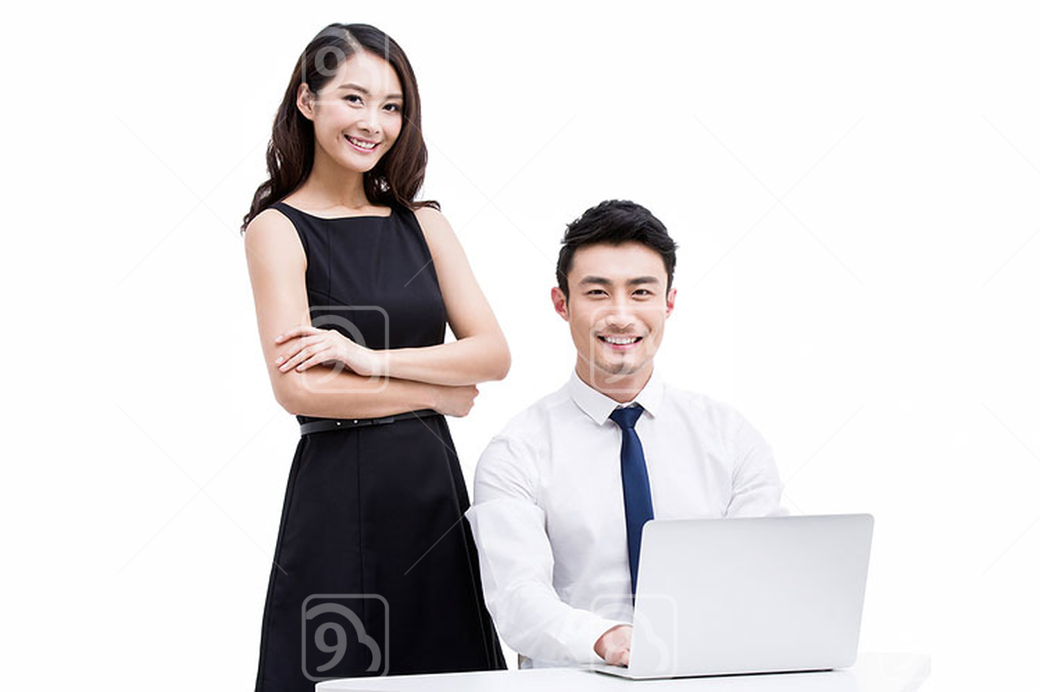 Young Chinese colleagues at work