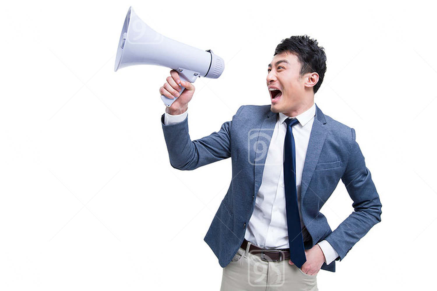 Cheerful Chinese businessman shouting into megaphone