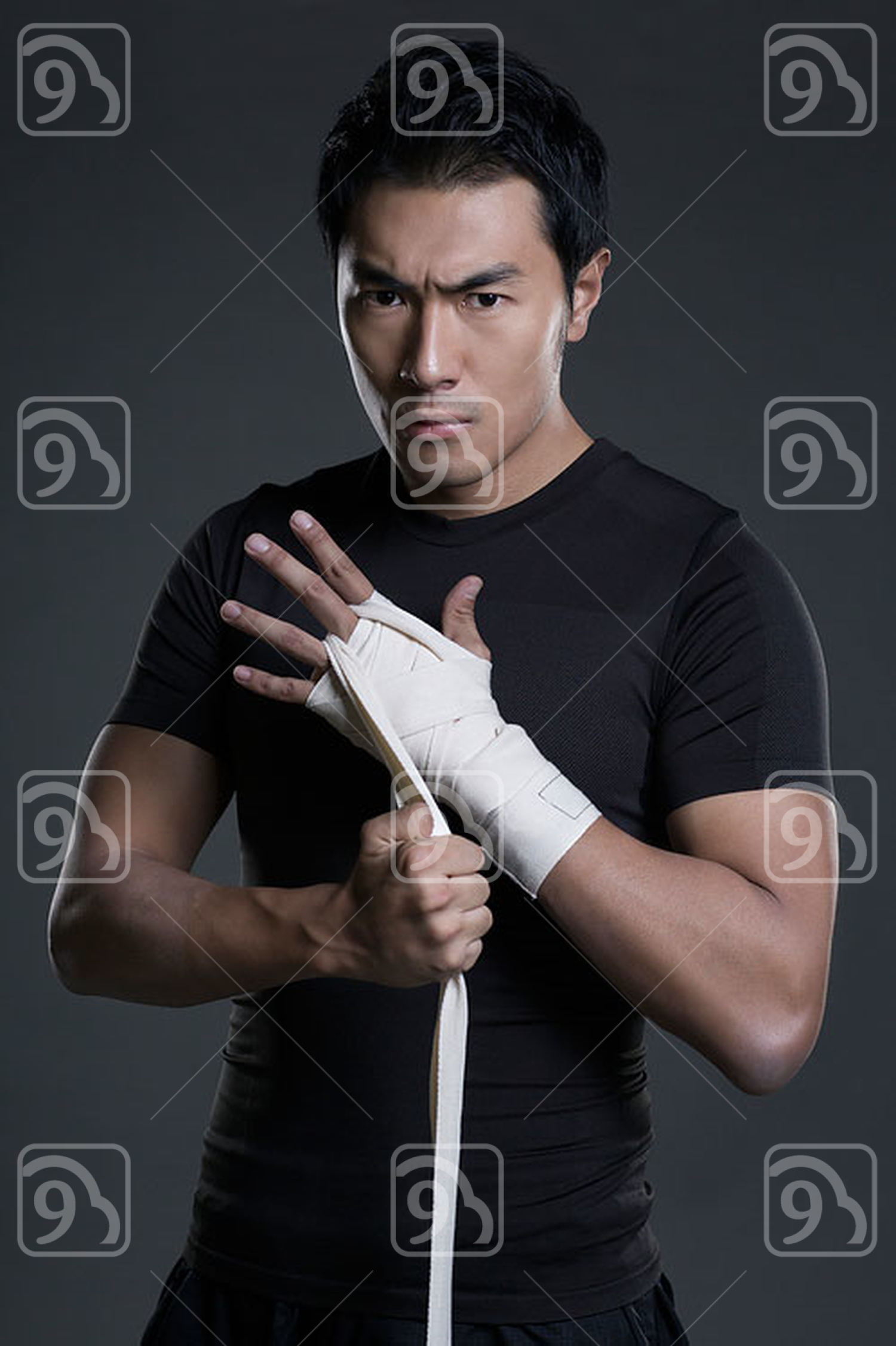 Chinese boxer wrapping hands