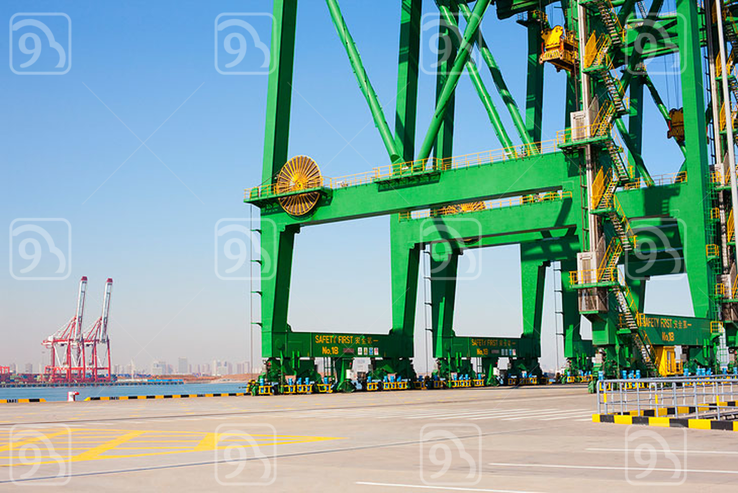 Cranes in shipping dock
