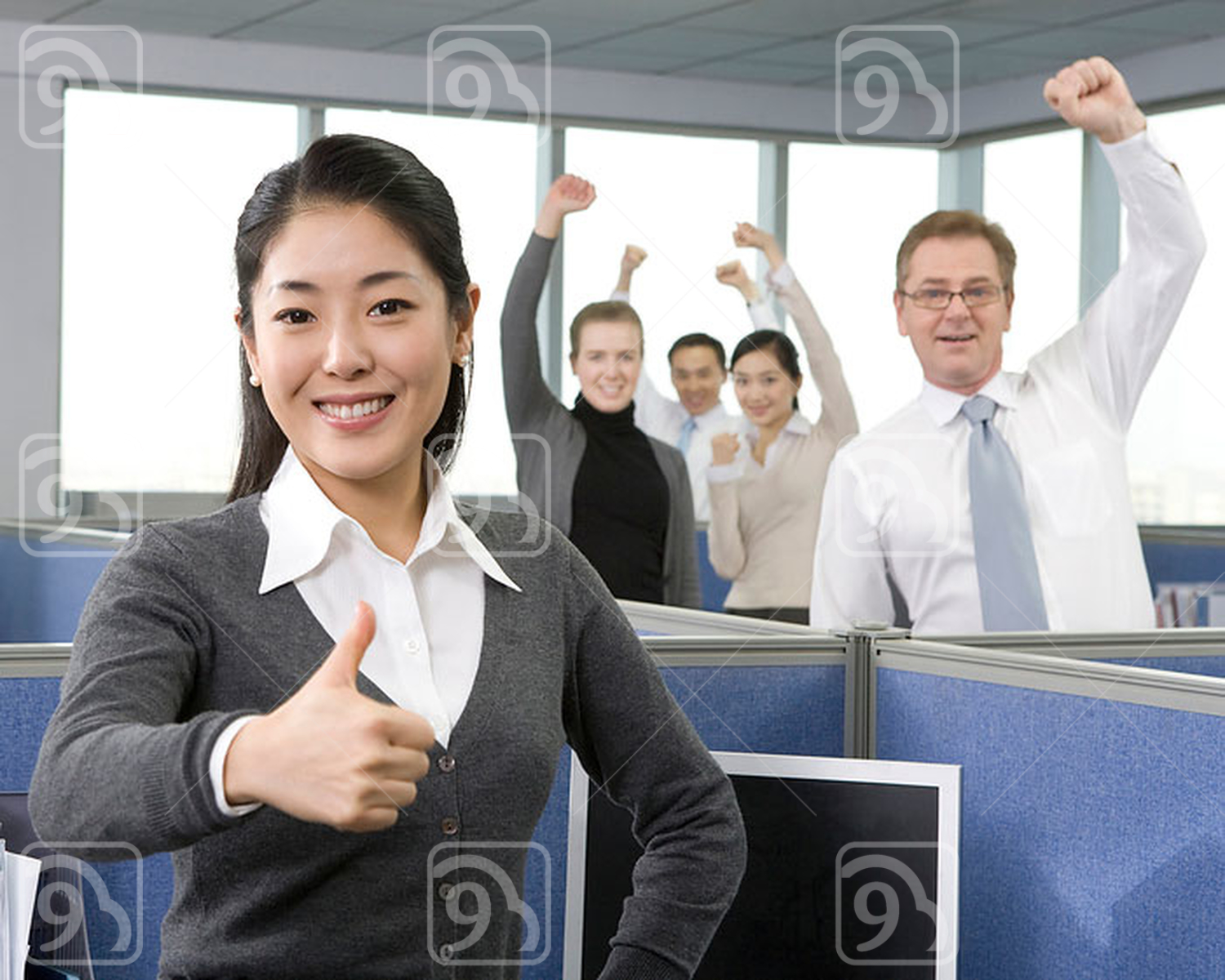 Businesspeople cheering