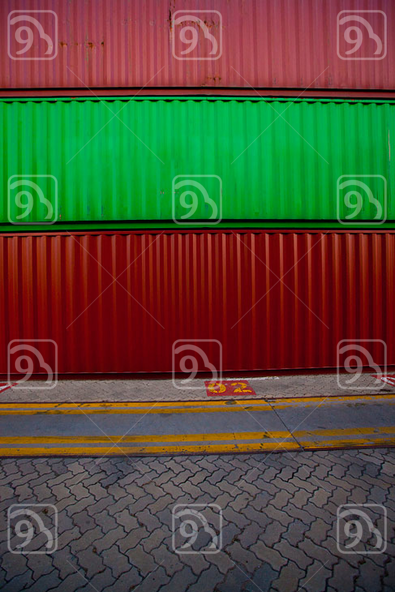 Red and green cargo containers