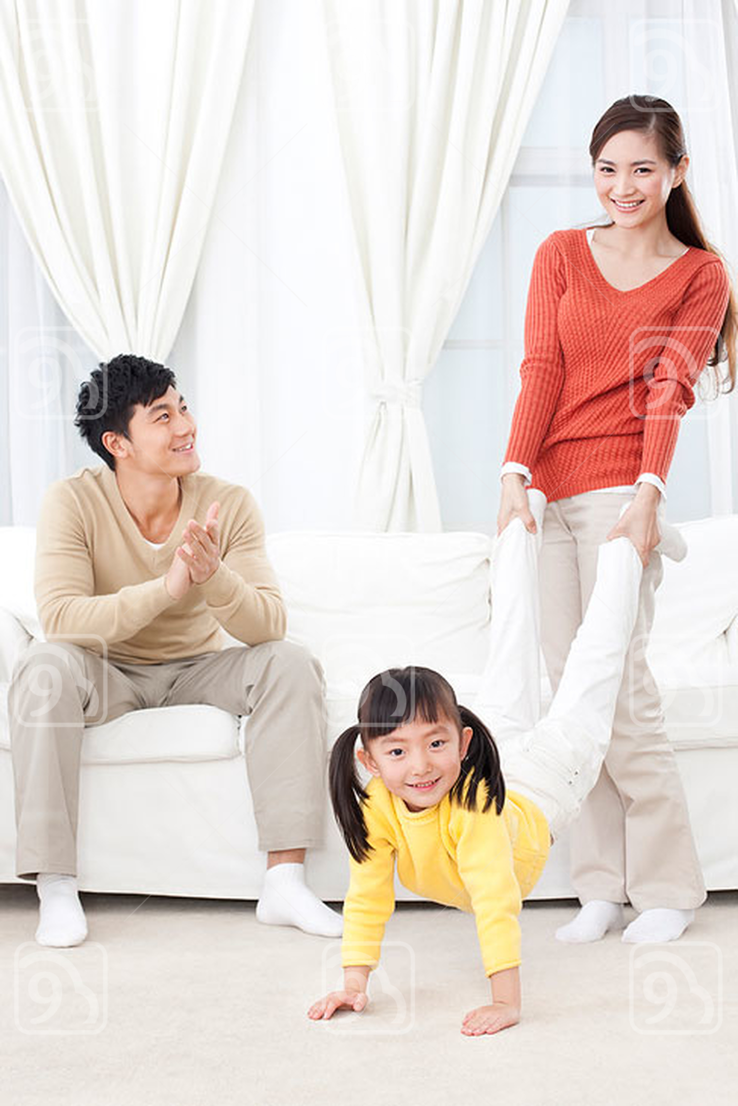 Chinese family having fun together