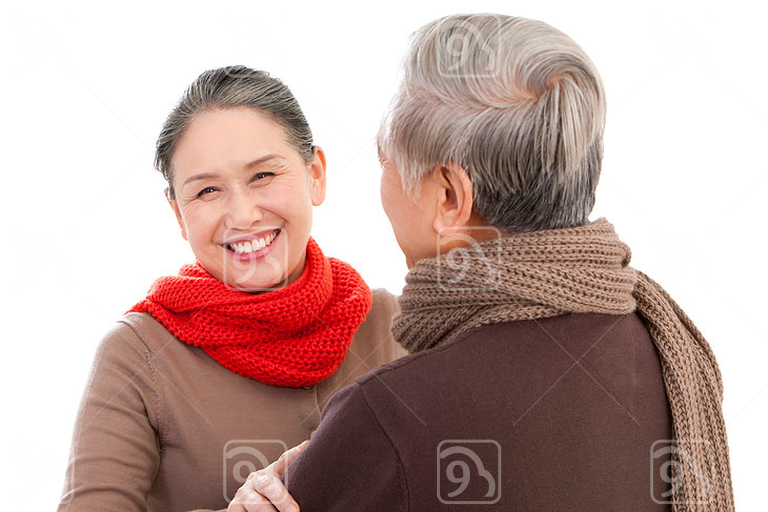 Senior affectionate Chinese couple embracing