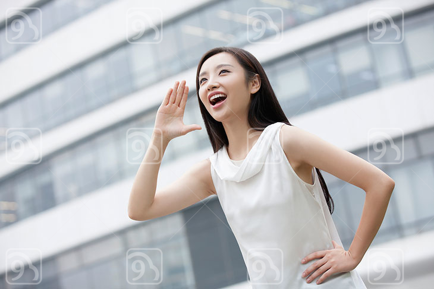 Young Chinese woman shouting