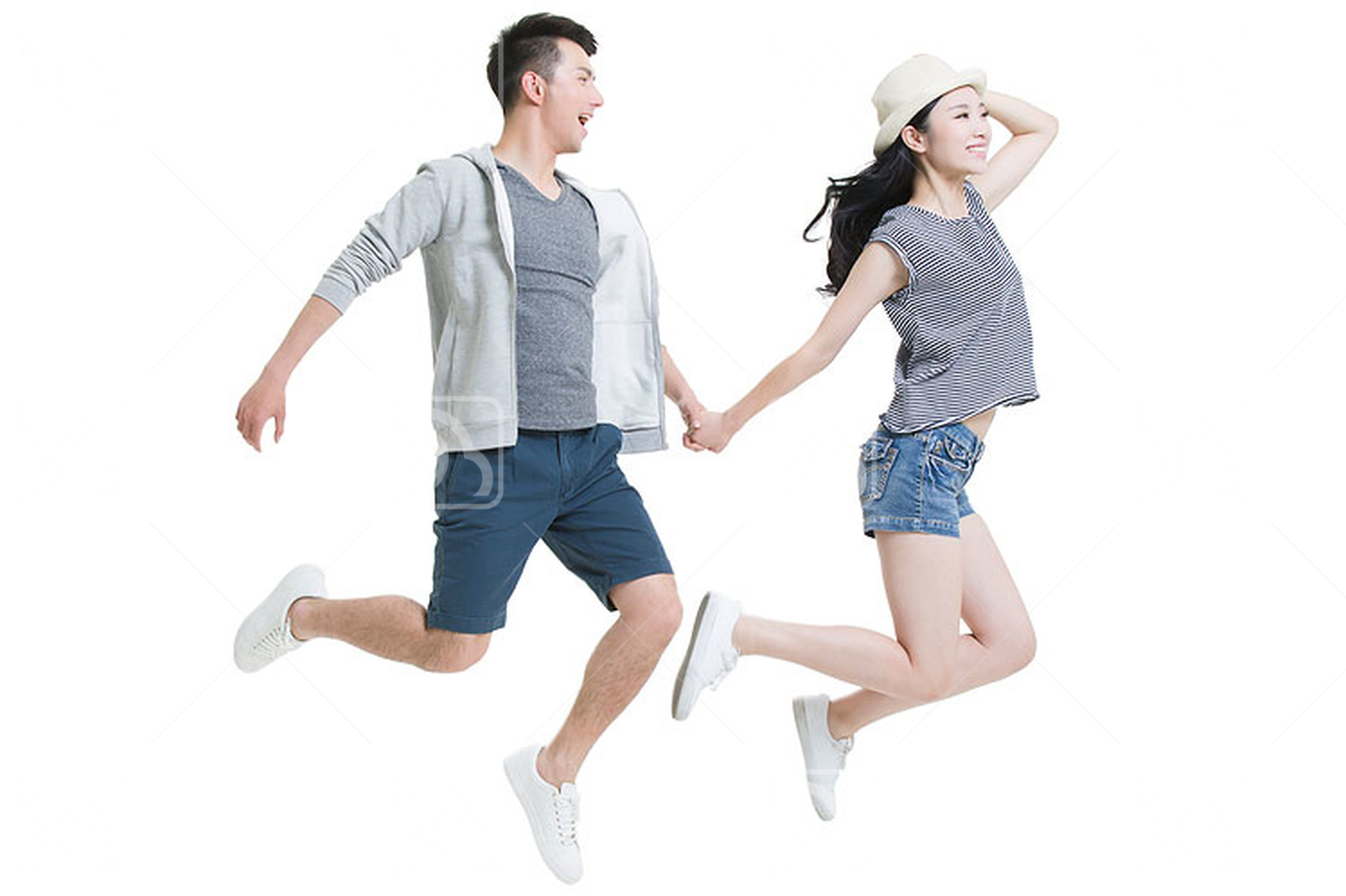 Happy young Chinese couple flying