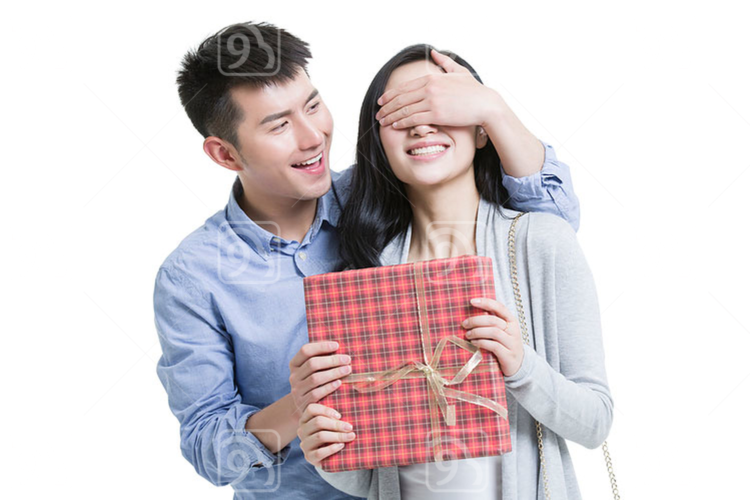 Young Chinese man surprised girlfriend with a gift