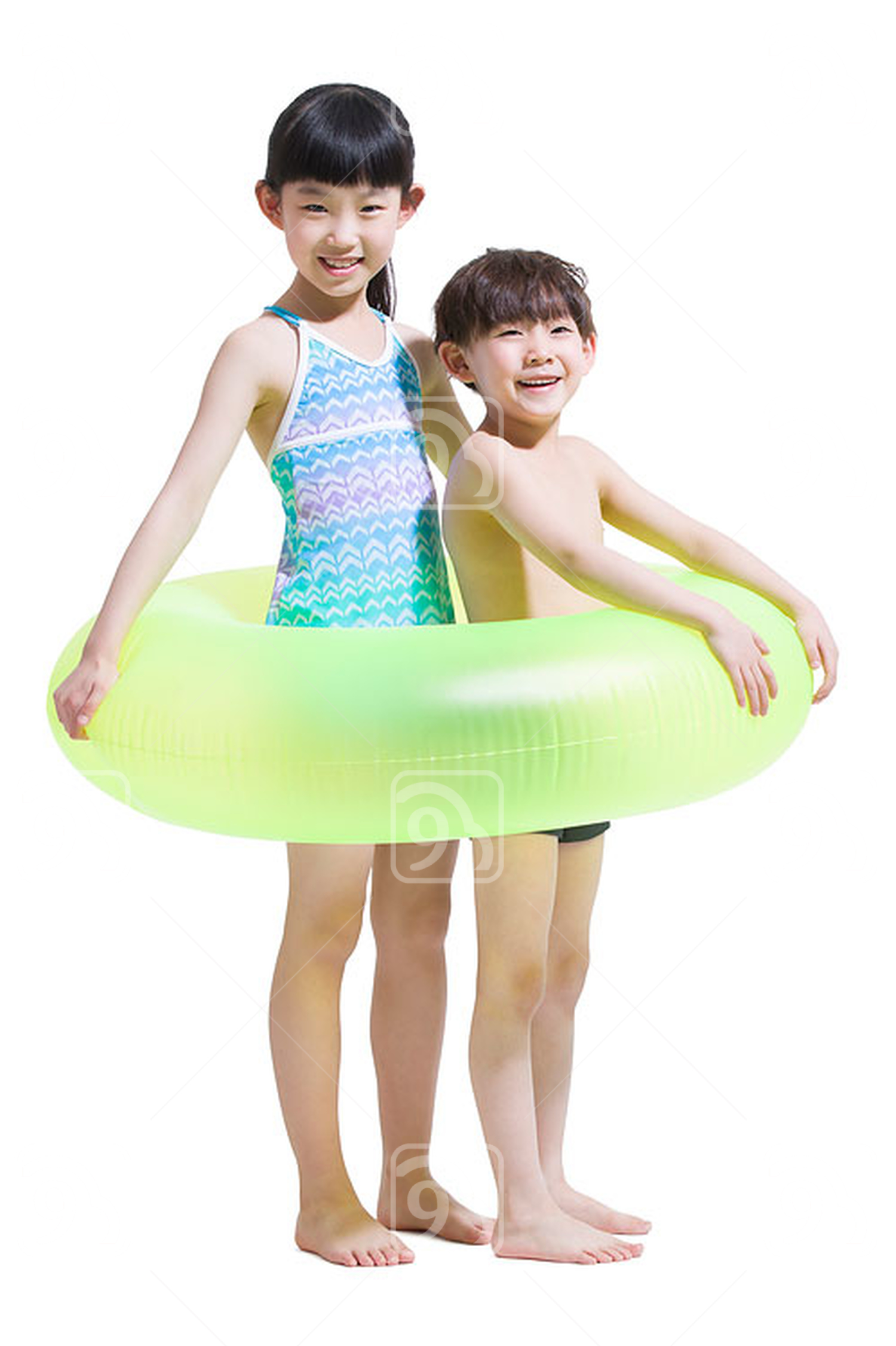 Cute Chinese children in swimsuit with swim ring