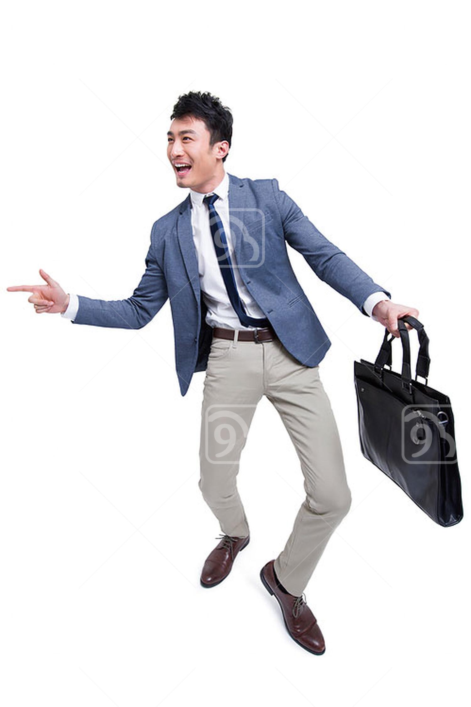 Cheerful Chinese businessman gesturing