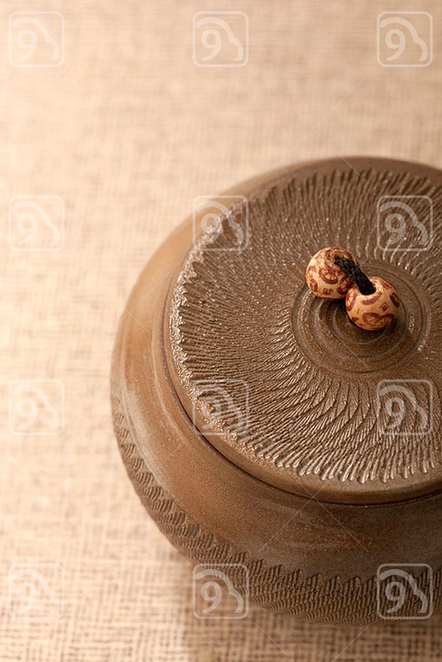 Close-up of pottery jar