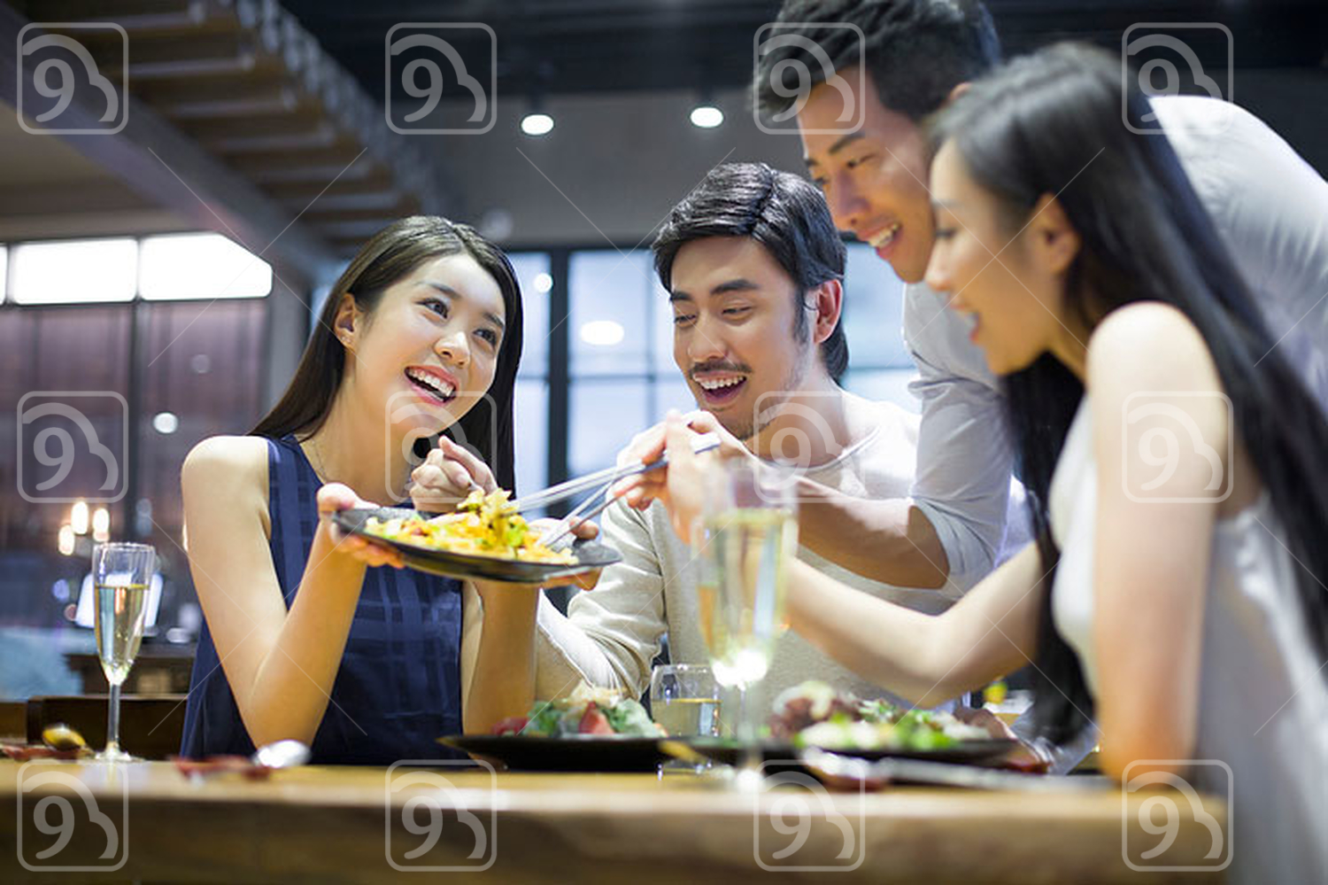 Chinese friends having dinner together