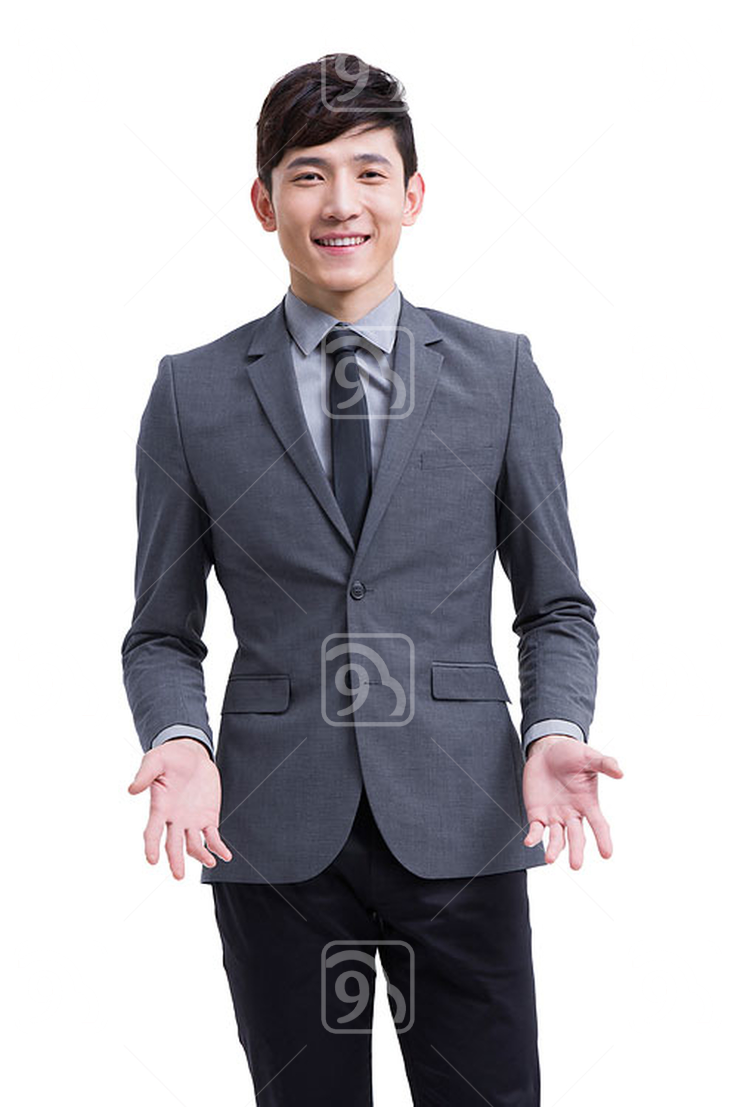 Young Chinese businessman shrugging