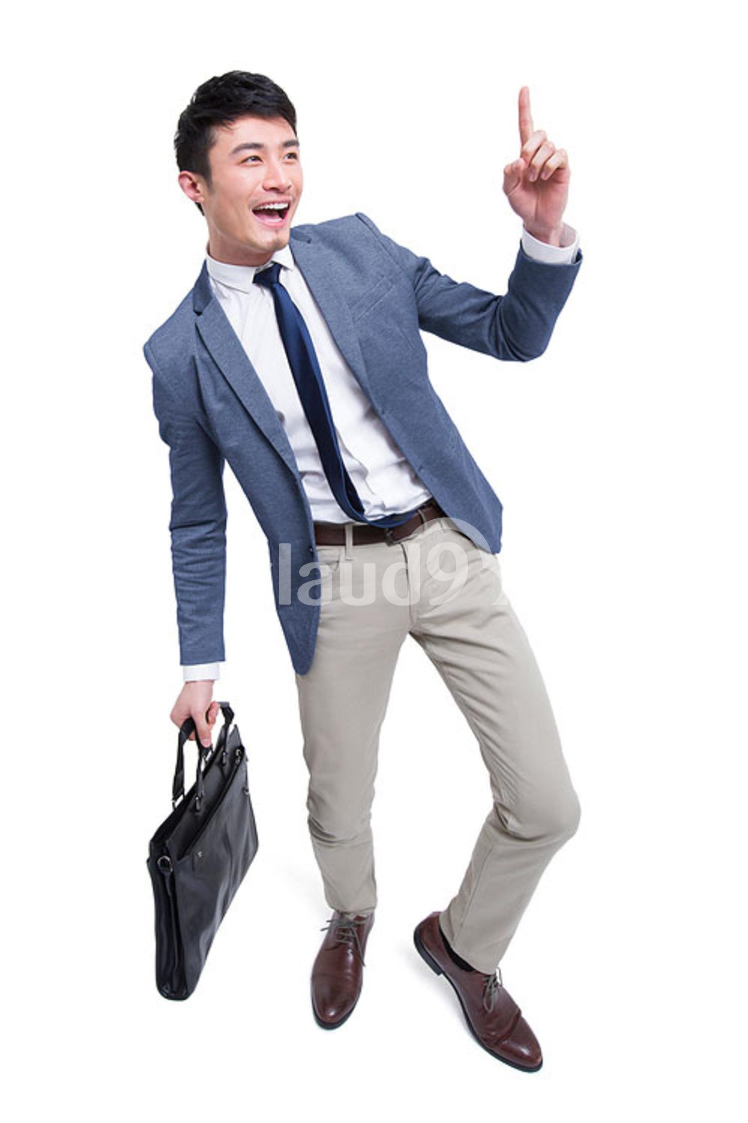Cheerful Chinese businessman raising finger