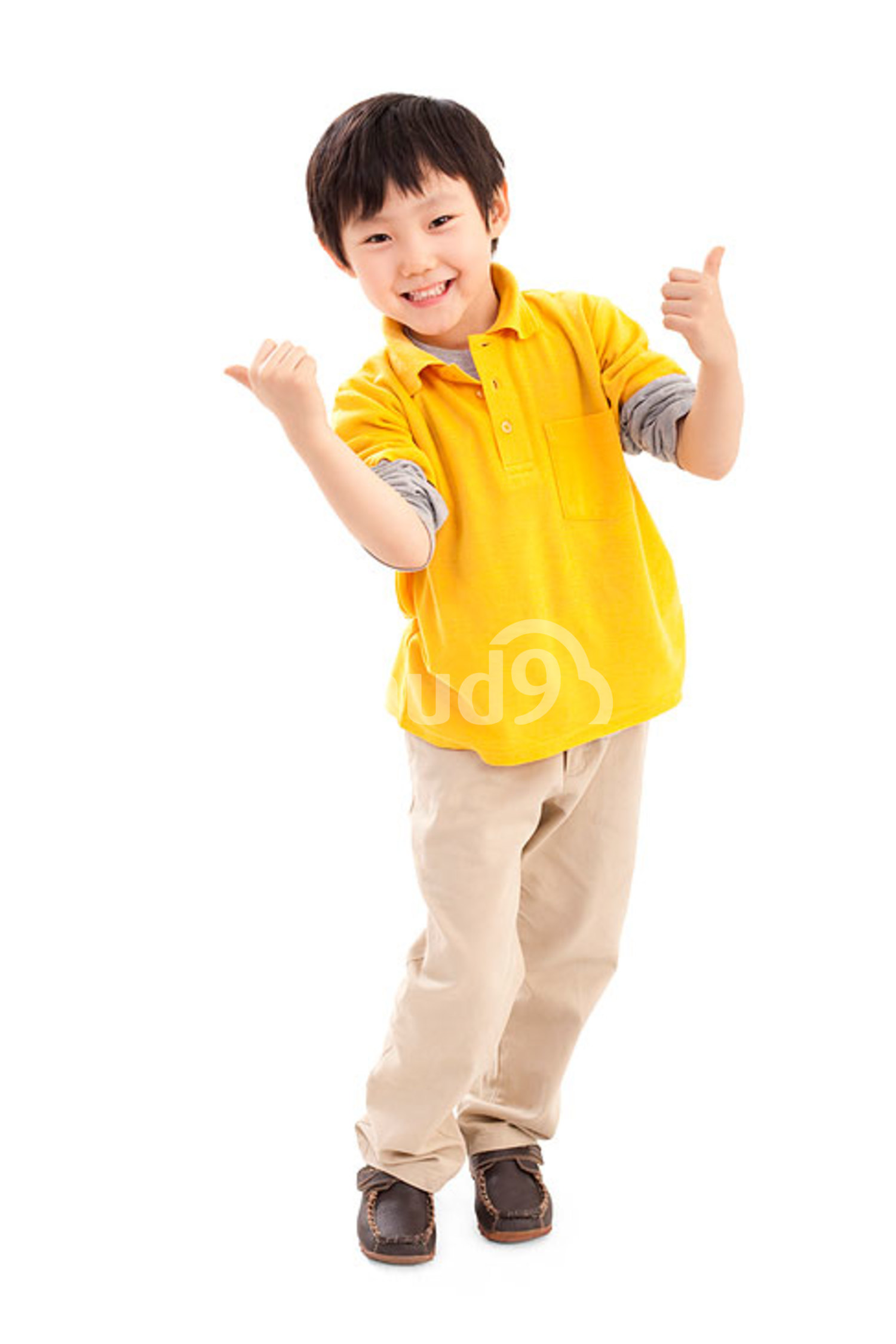 Cute Chinese boy doing thumbs up