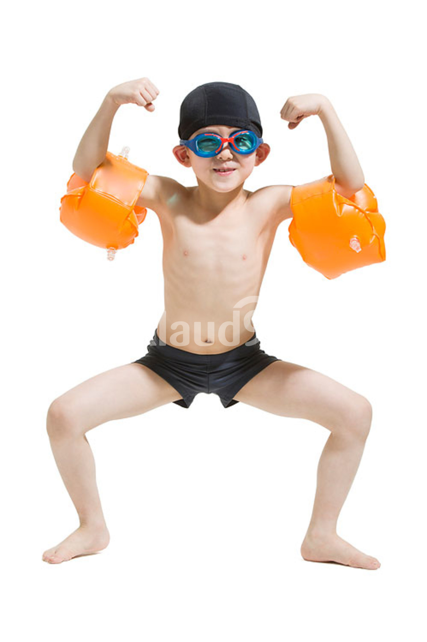 Cute Chinese boy in swimsuit with water wings