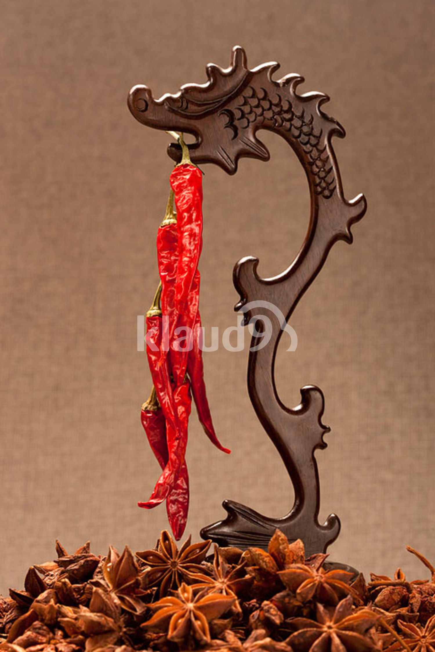 Dry red pepper and star anise