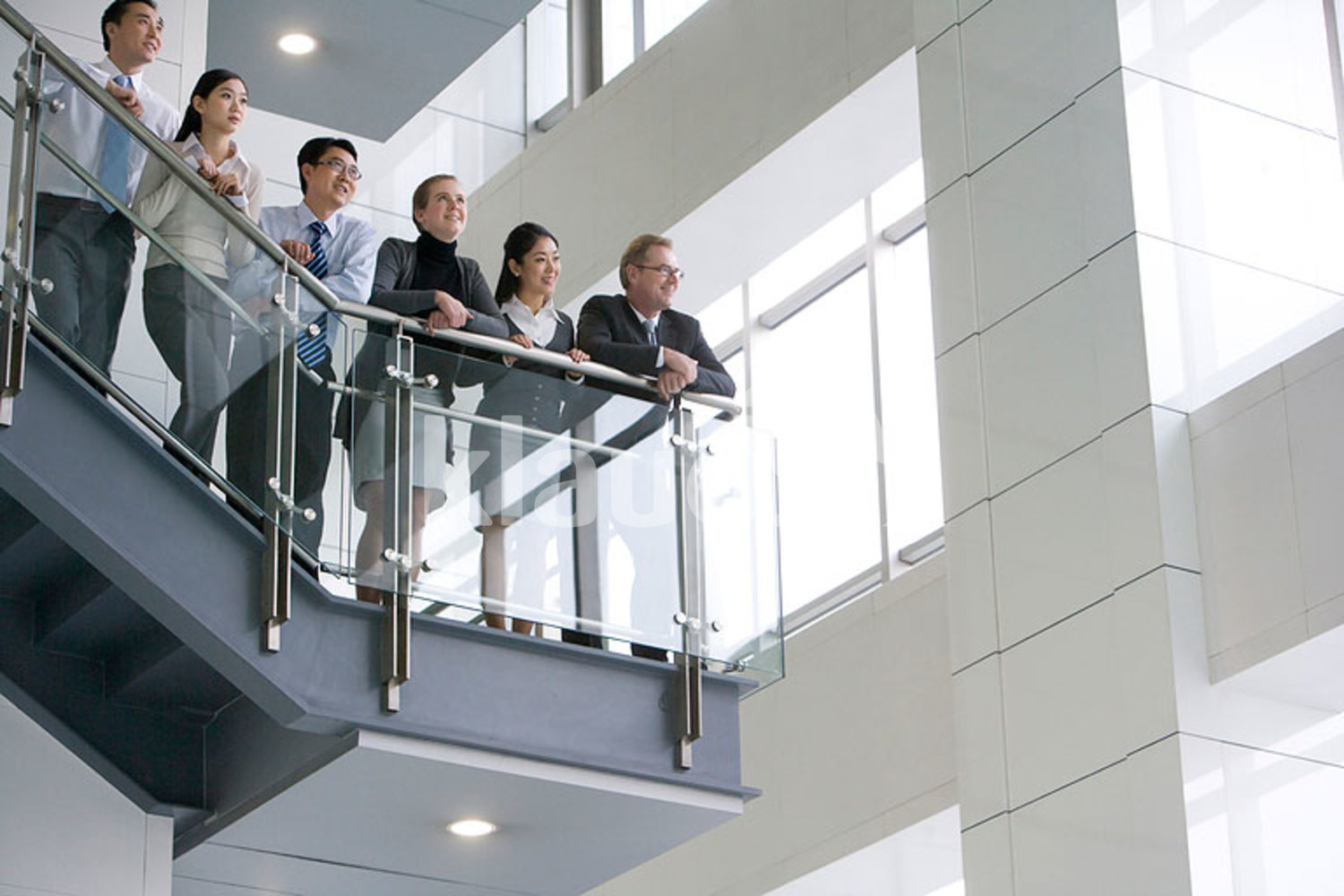 Officemates on the stairs