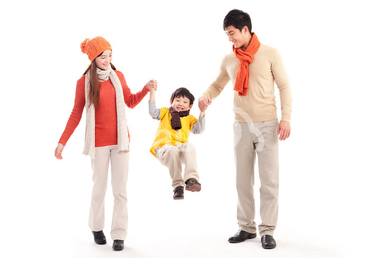 Happy Chinese family having fun