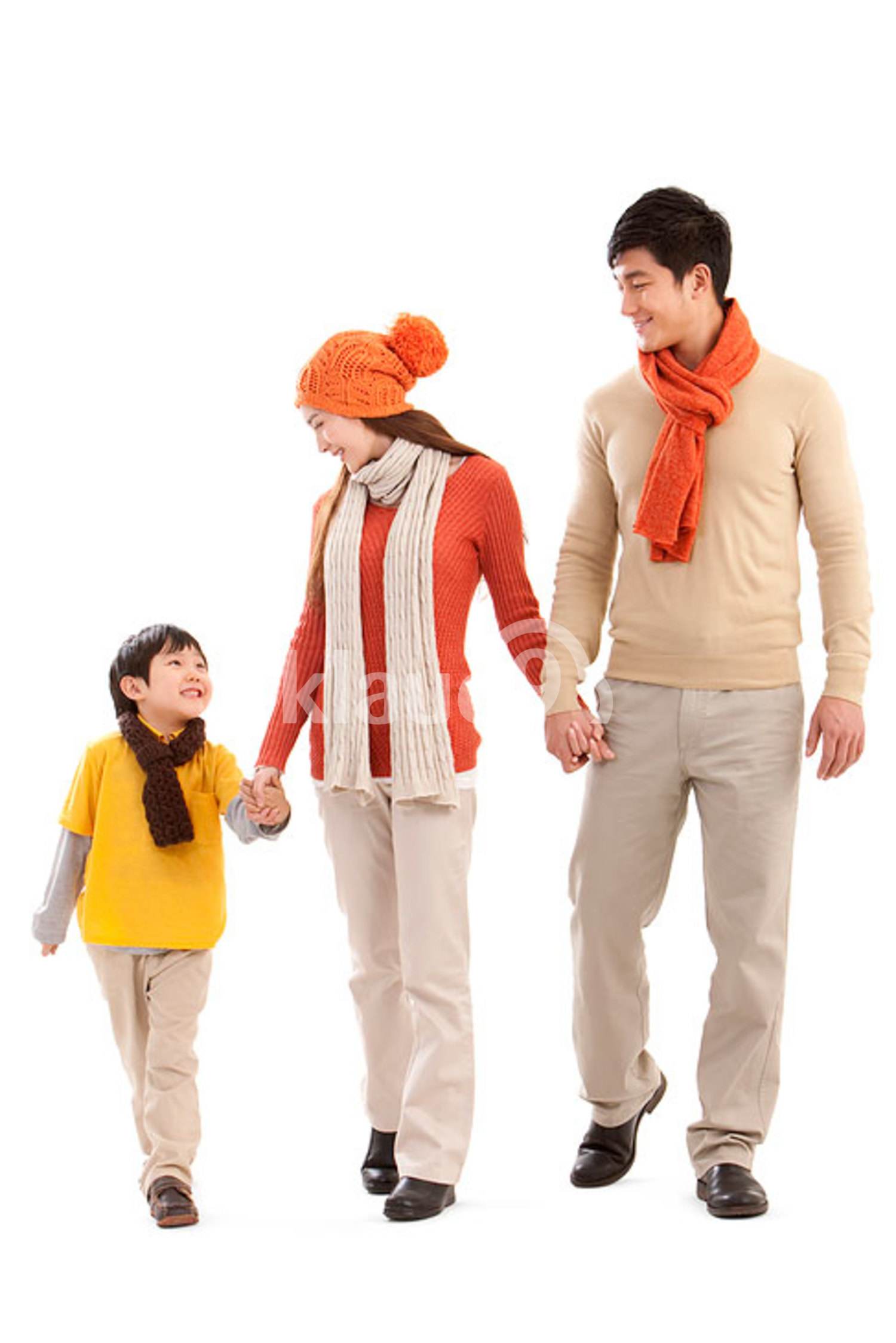 Happy Chinese family walking