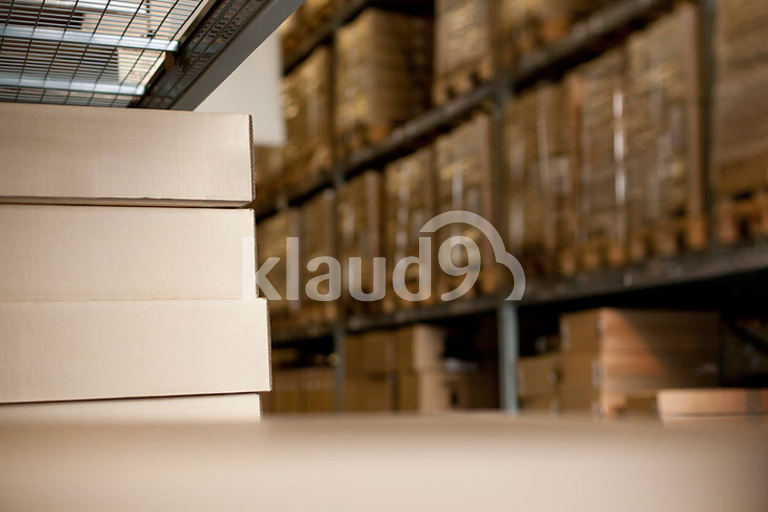 Boxes in a warehouse