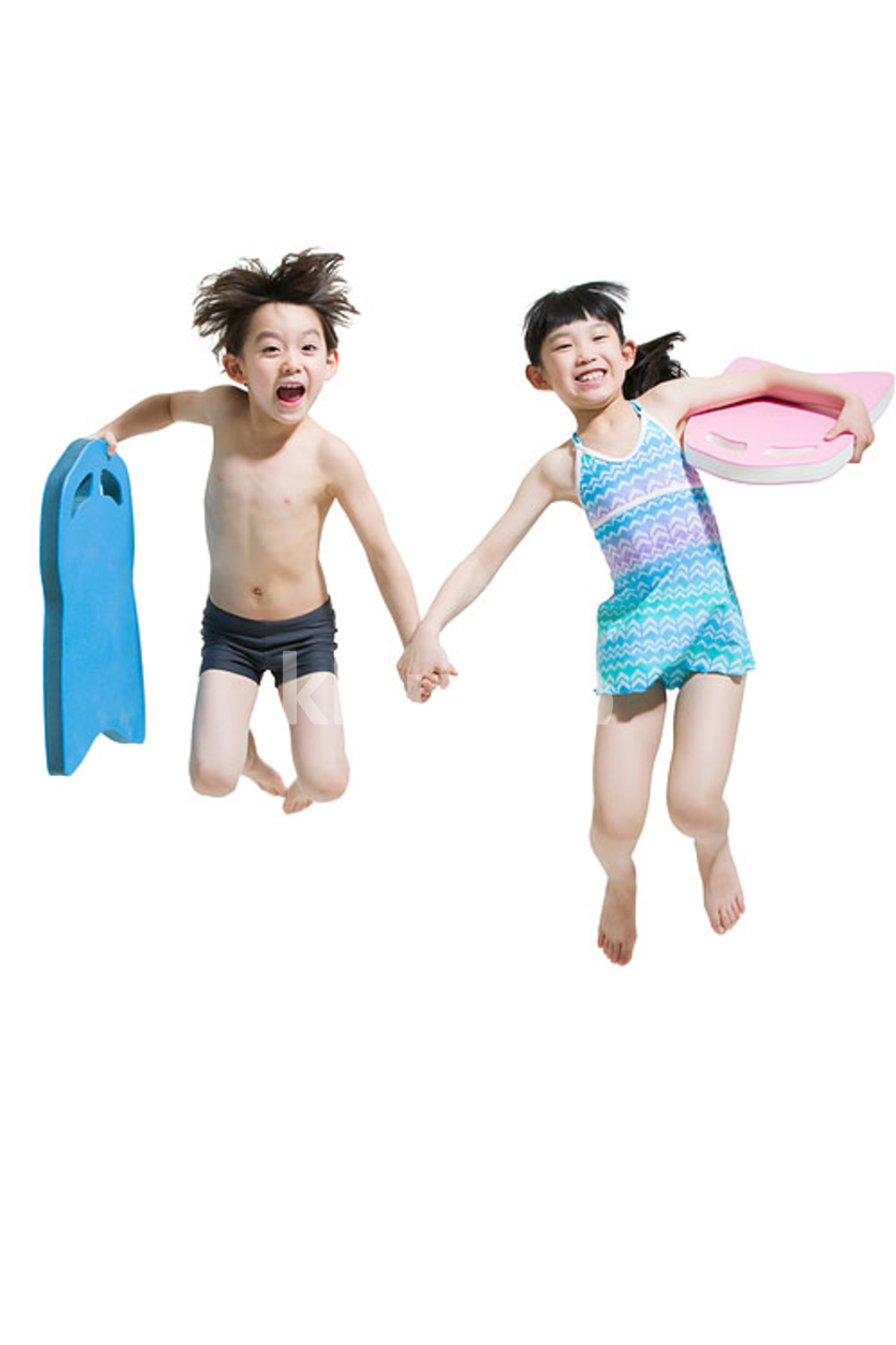 Cute Chinese children in swimsuit with kickboards