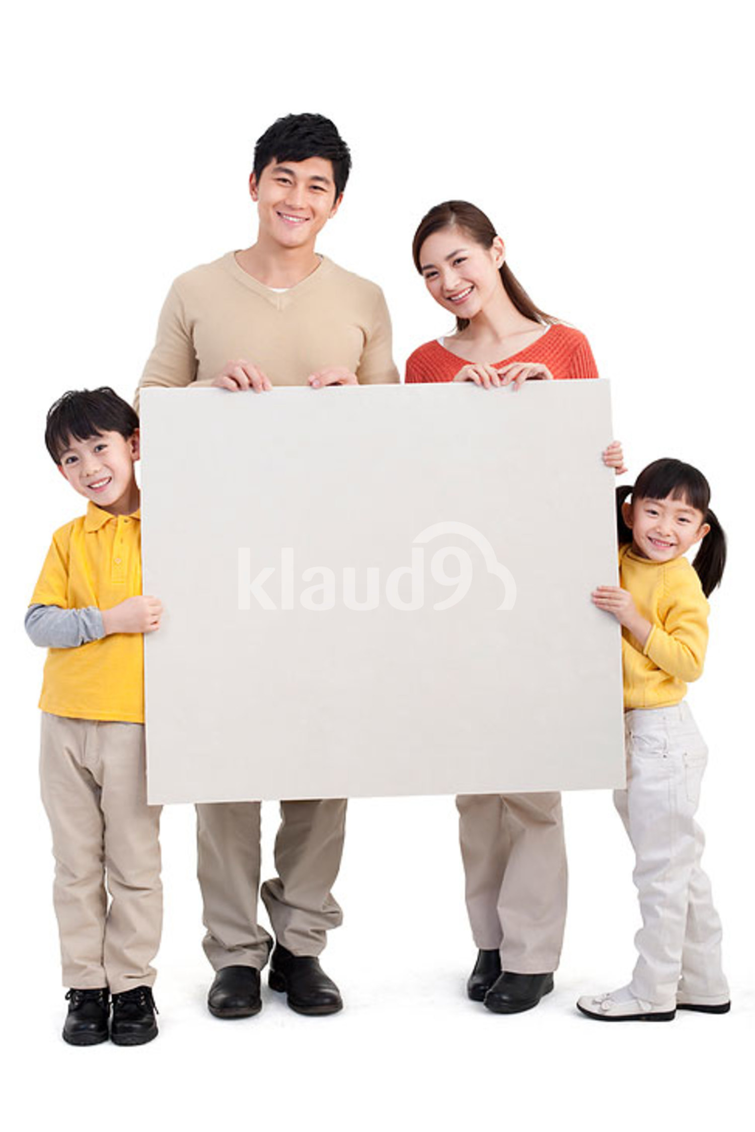 Happy Chinese family and whiteboard