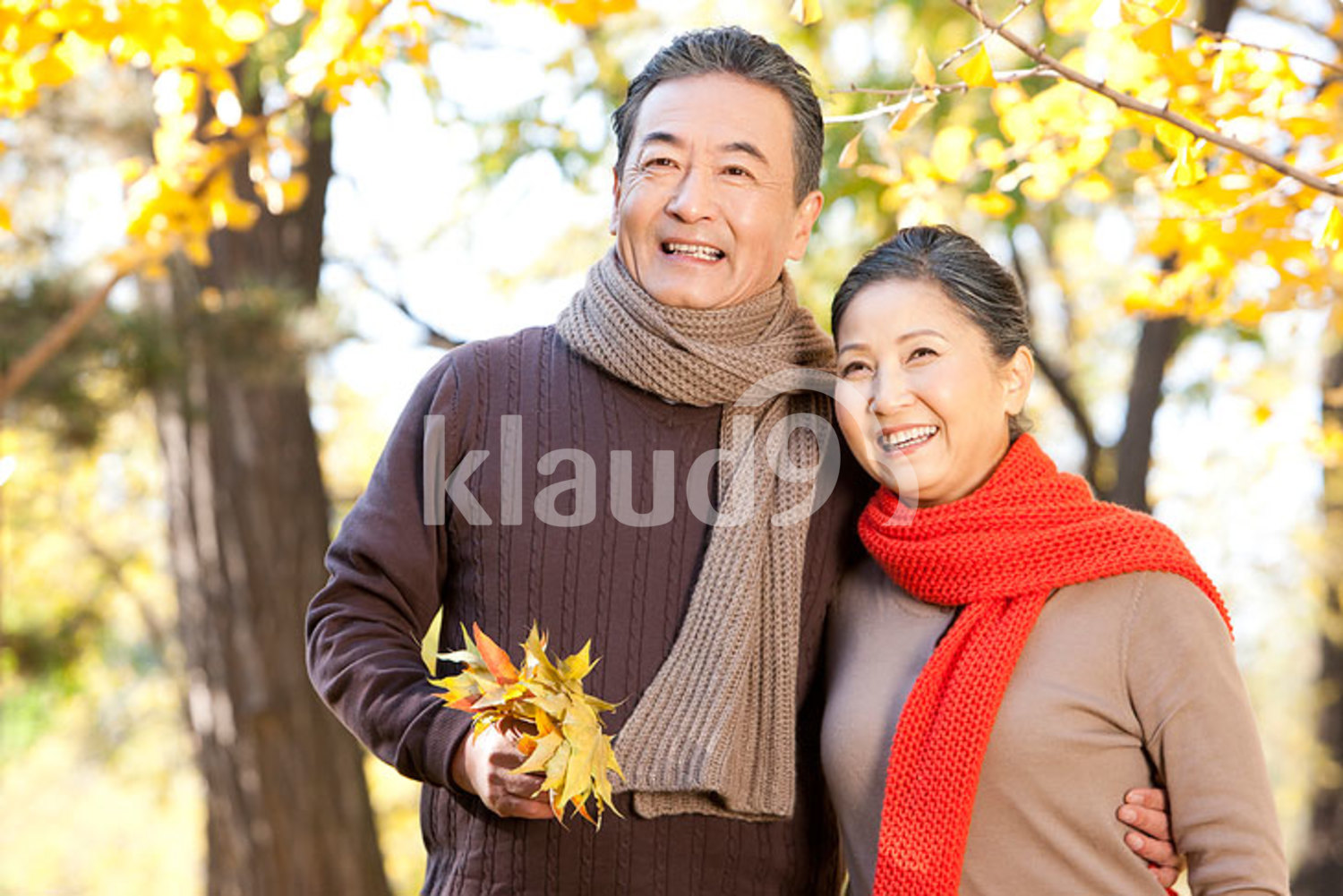 Senior Chinese couple walking in a park in autumn