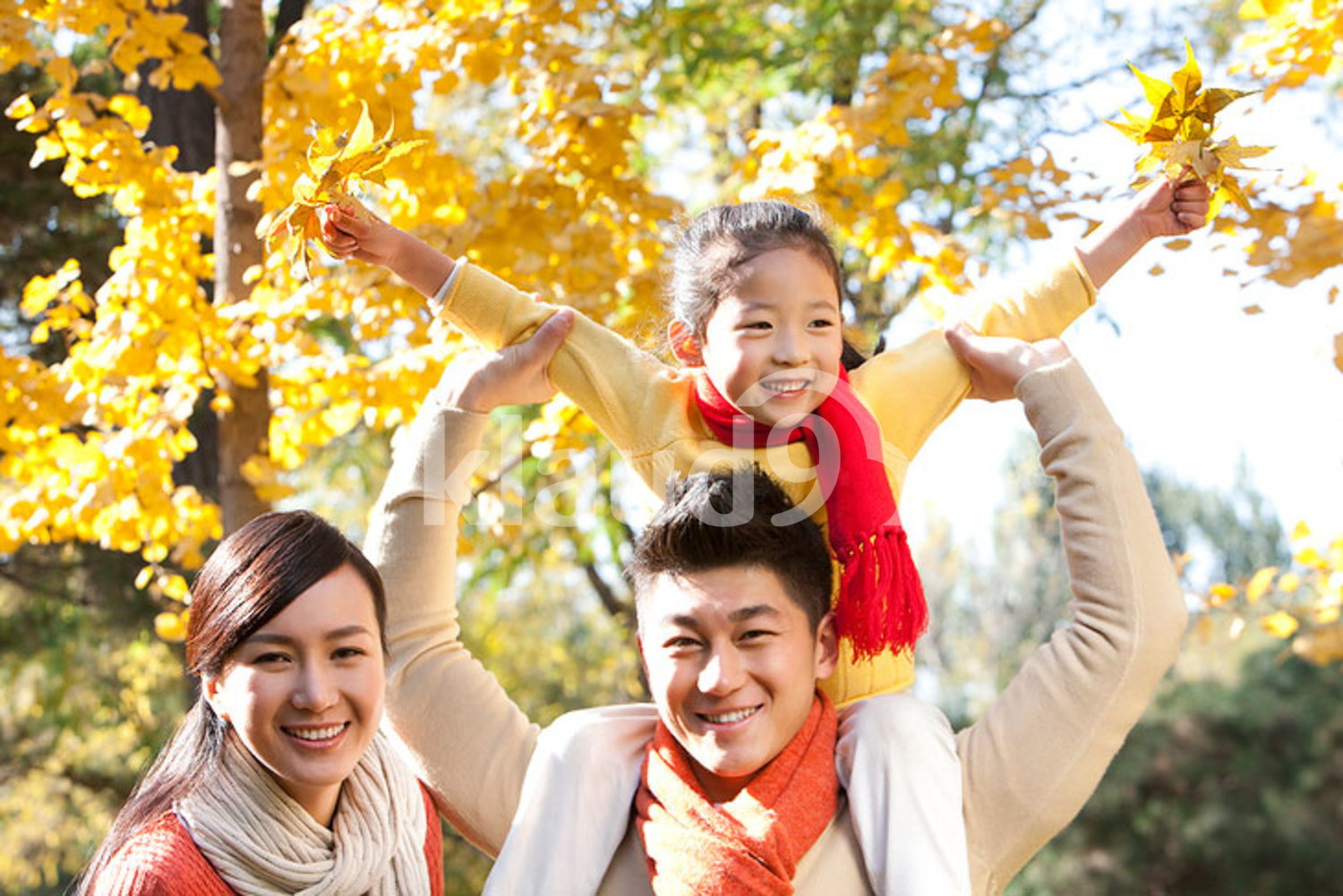 Chinese girl sitting on her father's shoulders in a park with family in autumn