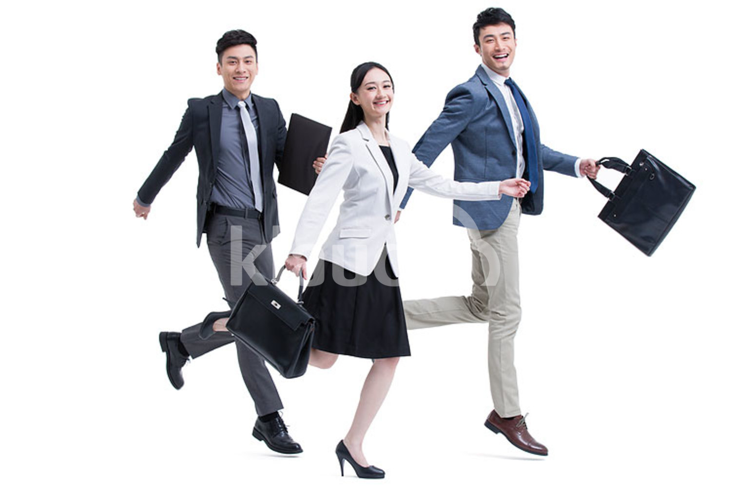 Excited Chinese business people on the move