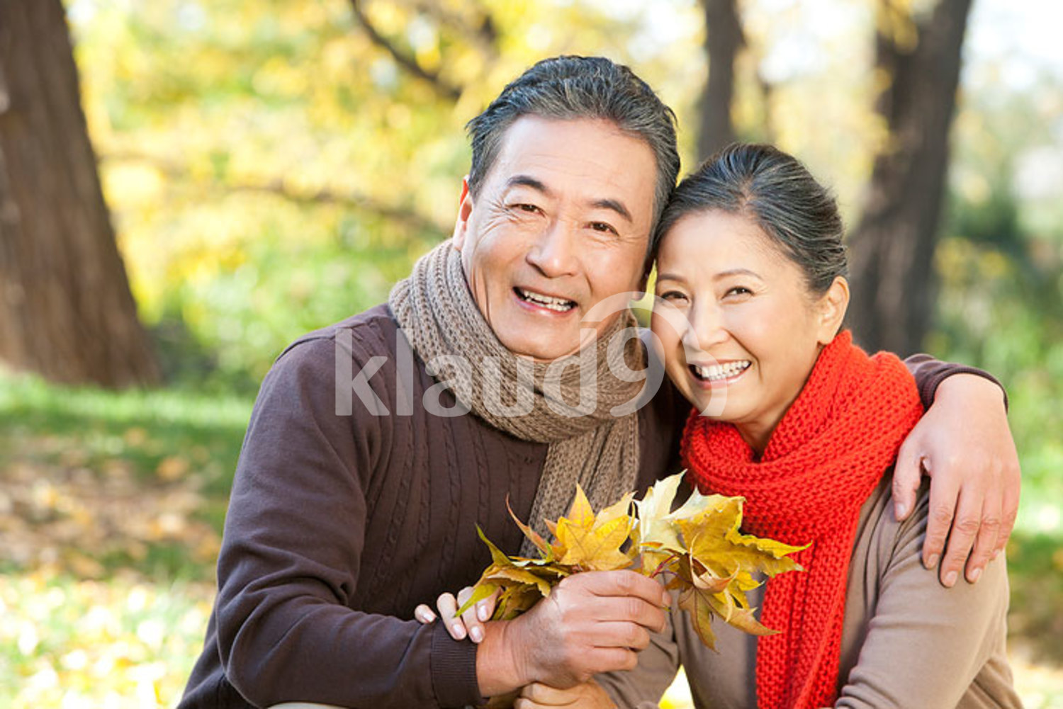 Senior Chinese couple collecting leaves in autumn