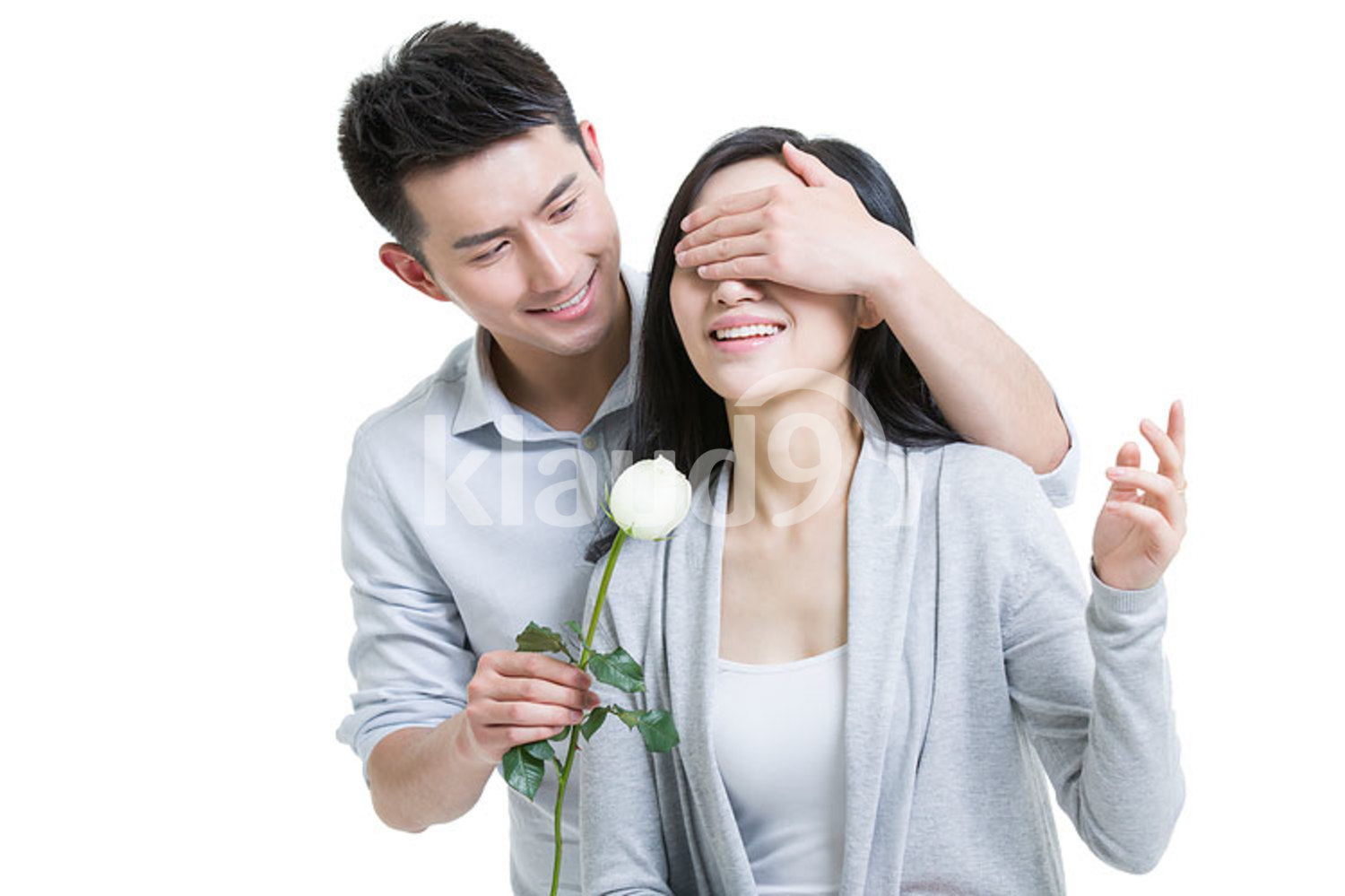 Young Chinese man surprised girlfriend with a rose