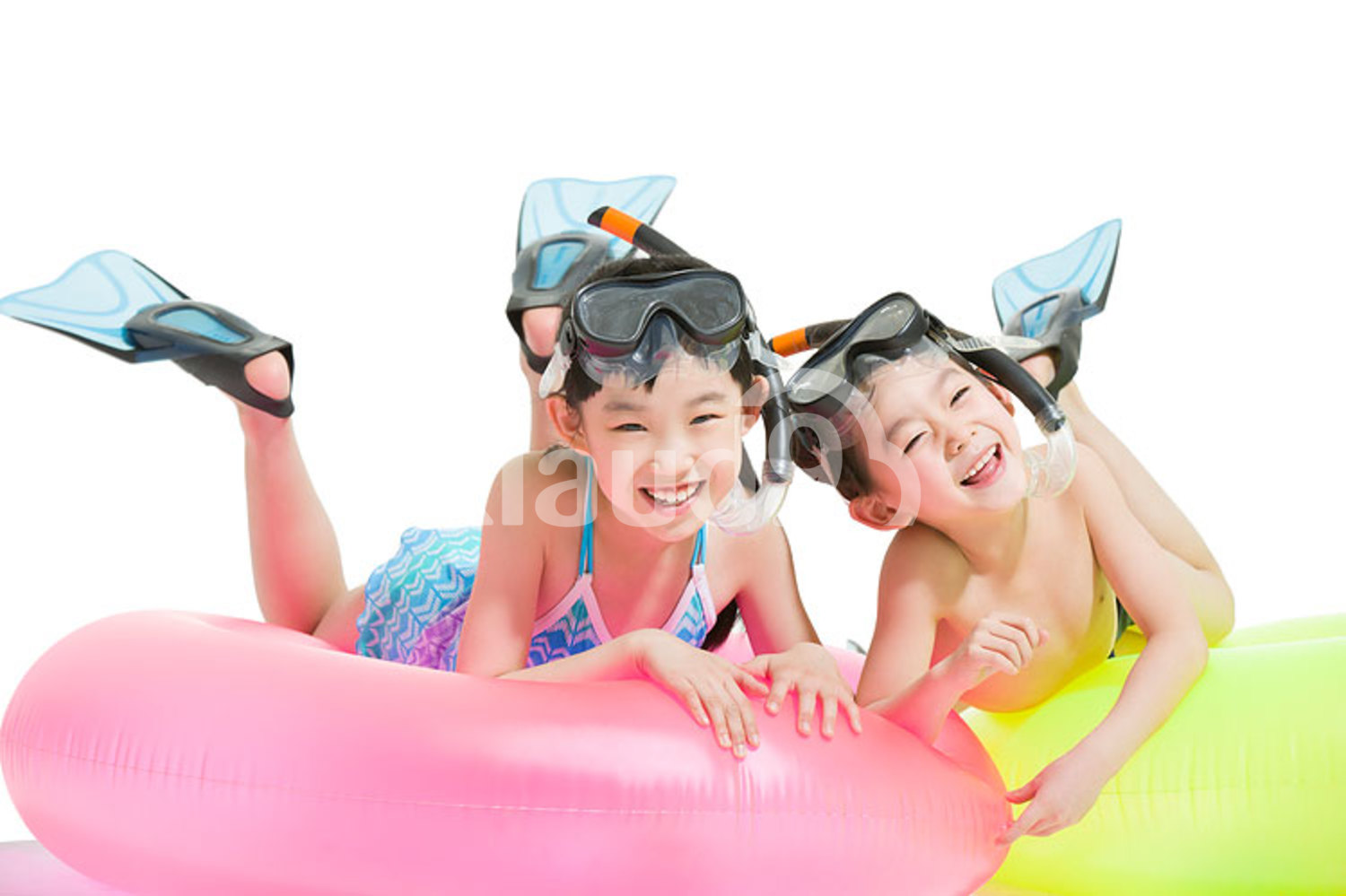 Cute Chinese children in swimsuit with swim rings