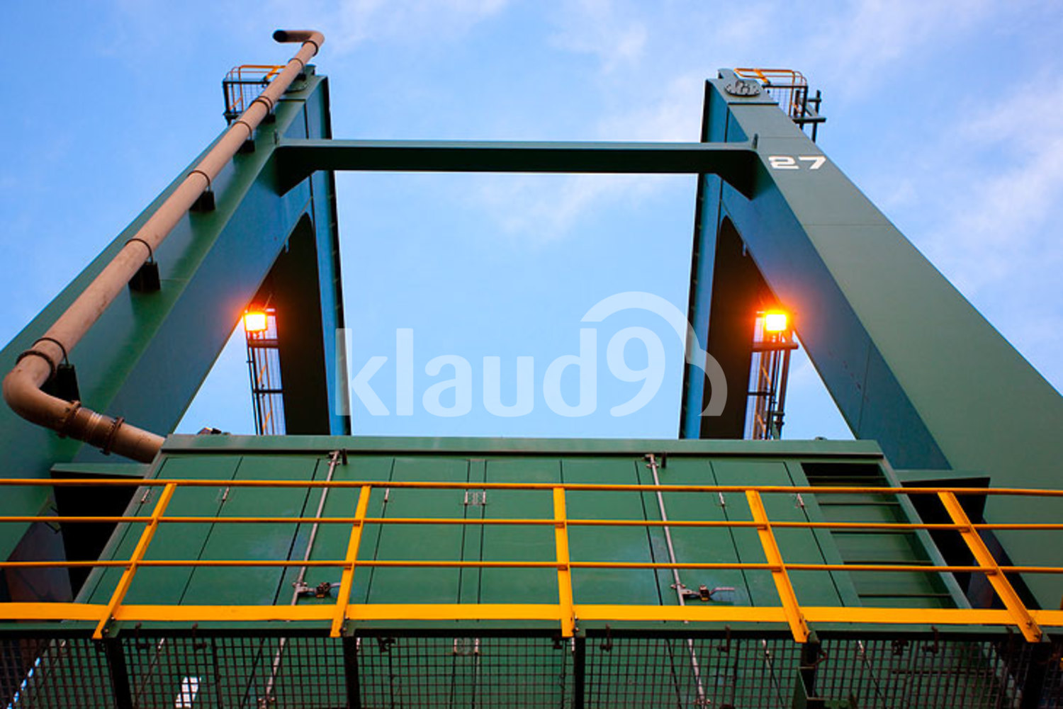 Low angle view of machinery at a shipping port