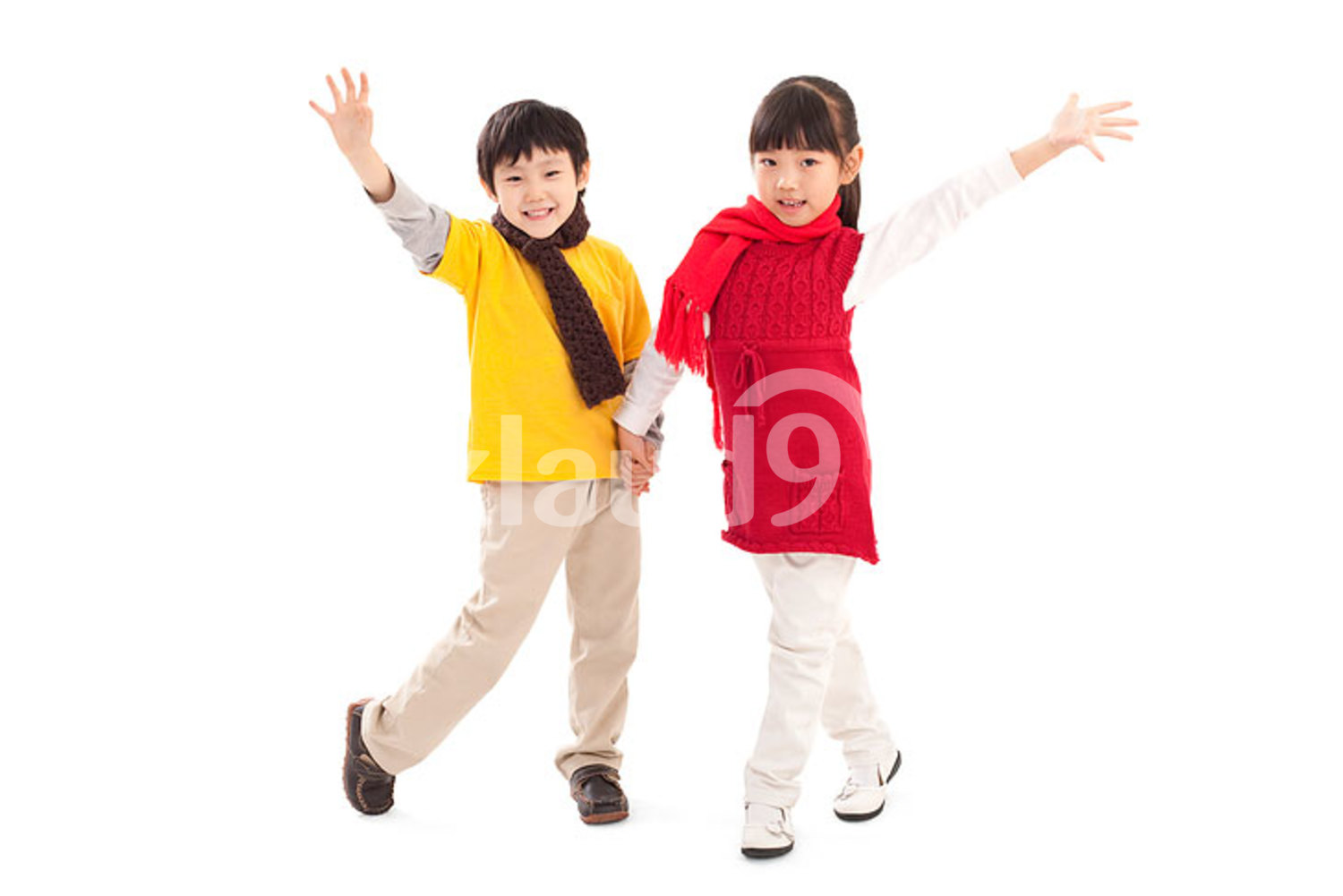 Cute Chinese little boy and girl