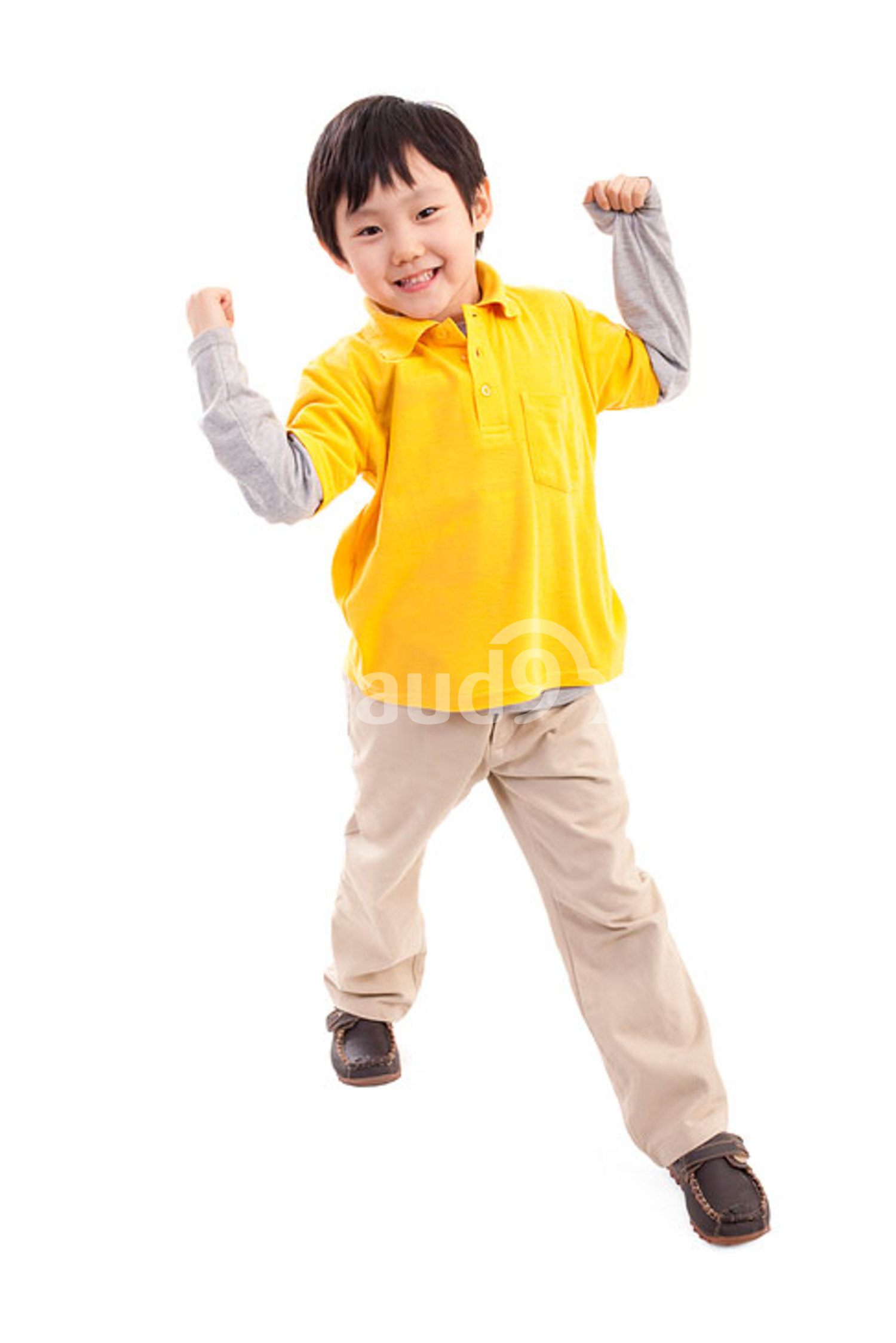 Cute Chinese boy showing strength