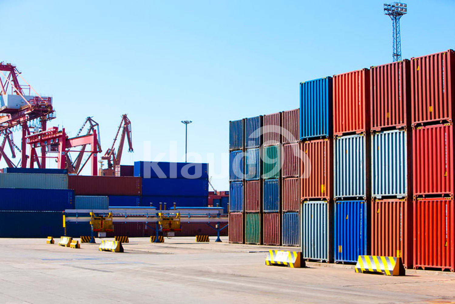 Cargo containers in shipping dock