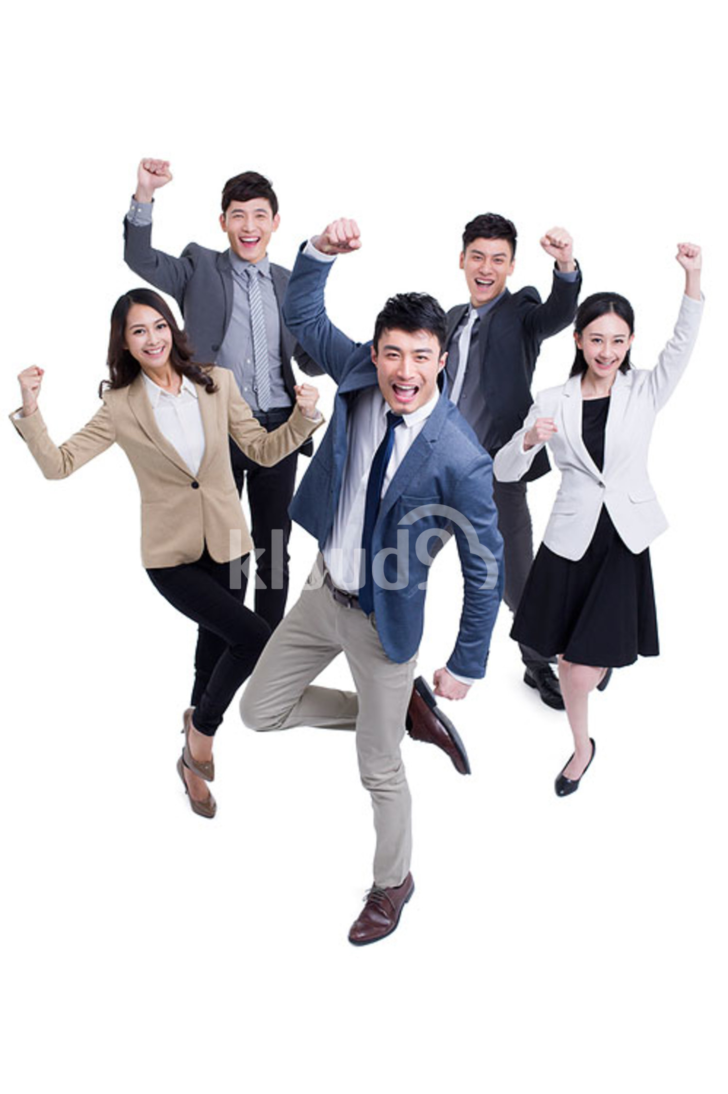 Excited Chinese business coworkers punching the air