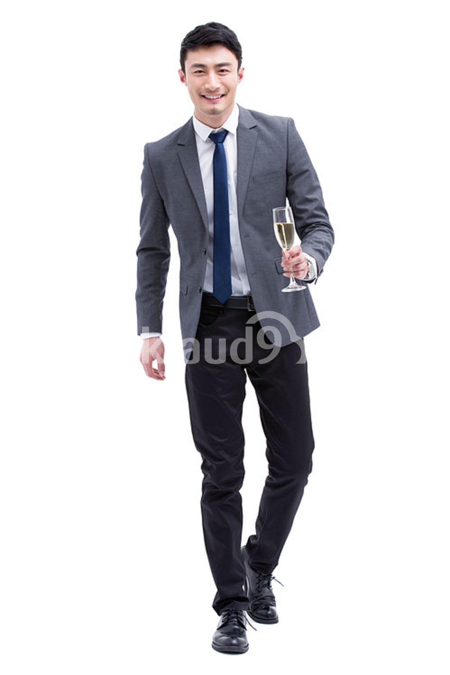Fashionable Chinese businessman with champagne