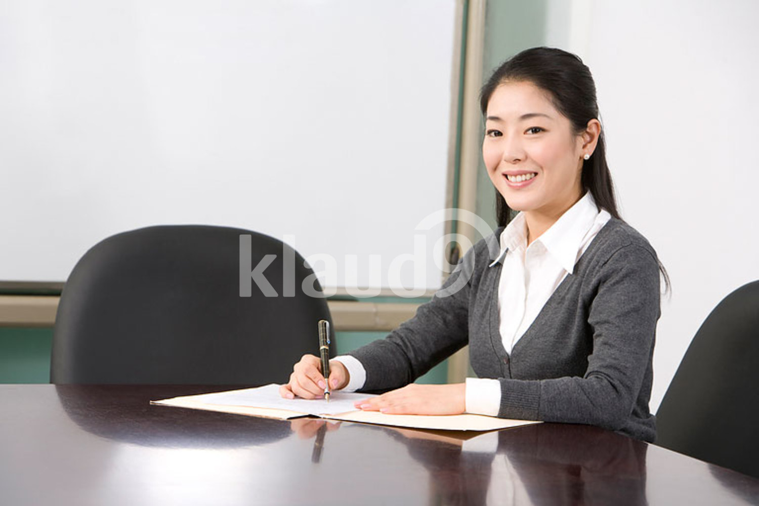 Chinese businesswoman working