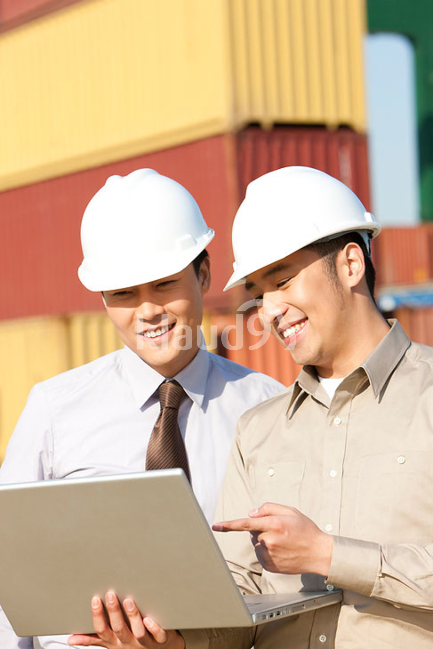 Chinese businessman with shipping industry worker looking over a laptop