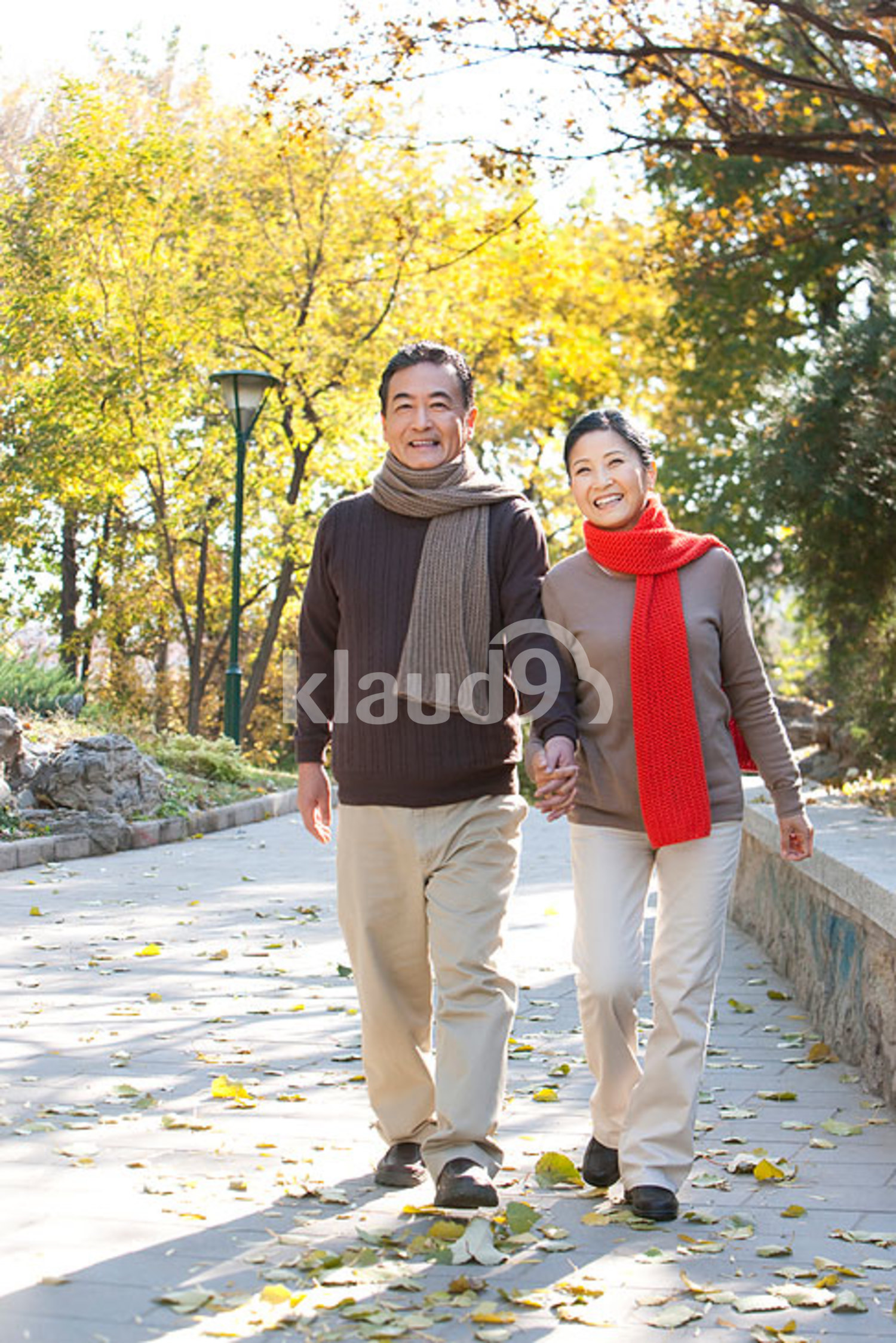 Senior Chinese couple strolling through the park in autumn