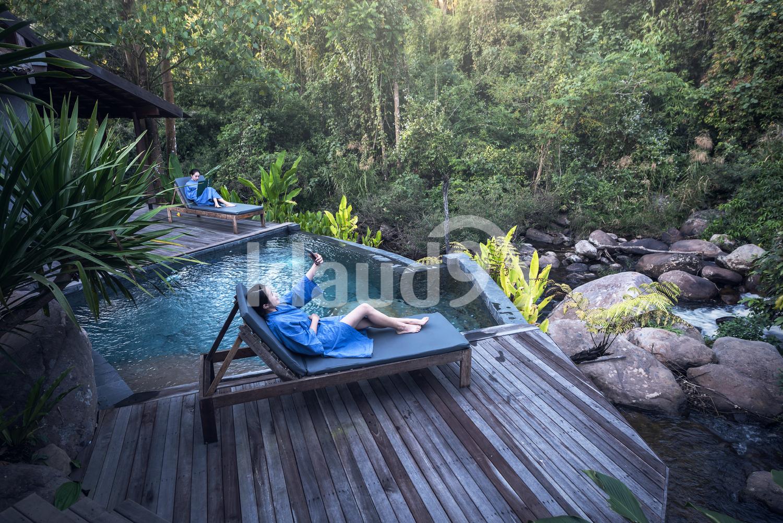 Female tourists enjoying a luxurious get-away