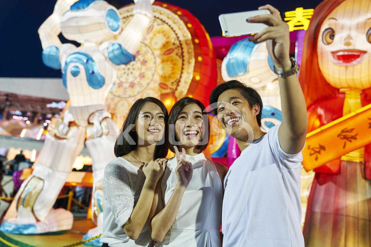 Group of friends taking a selfie at River Hongbao, Singapore