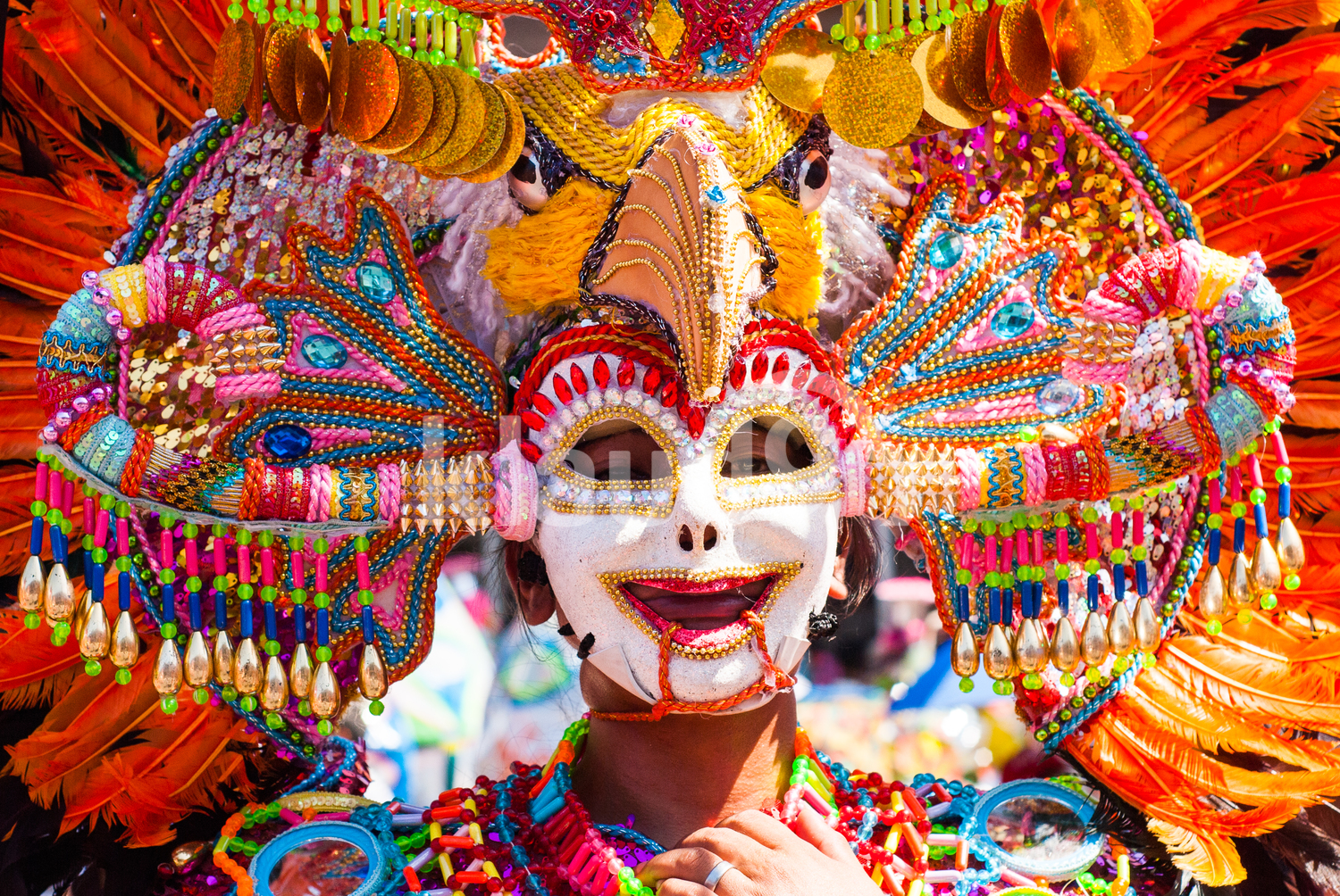 Colorful smiling mask at Masskara Festival, Bacolod City, Philippines