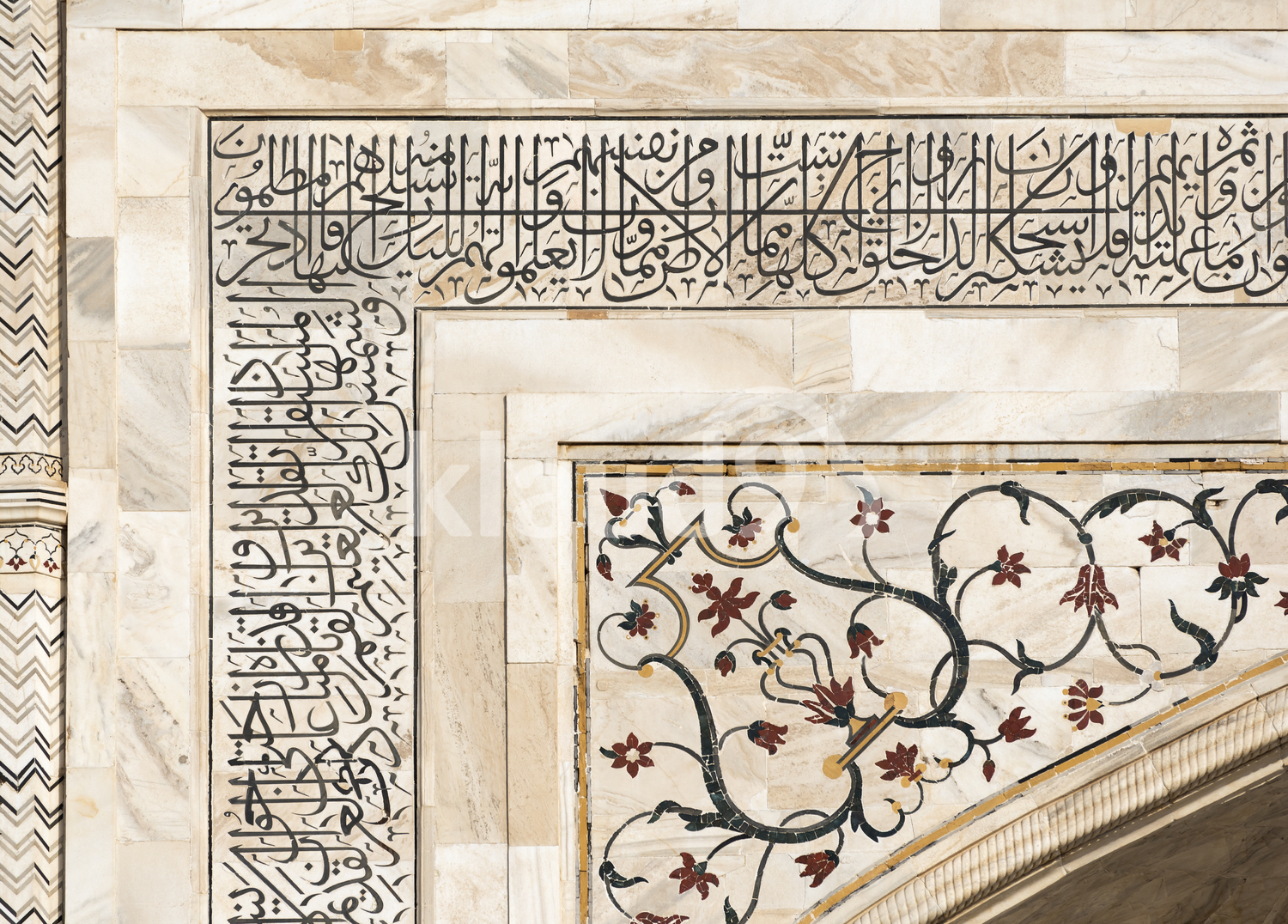 Marble slab with details in Taj Mahal, India