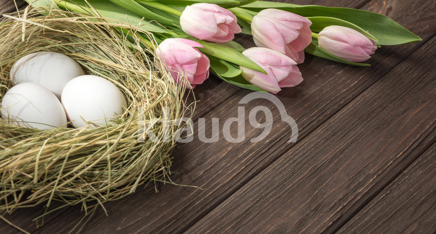 Easter eggs in a straw nest and  tulips