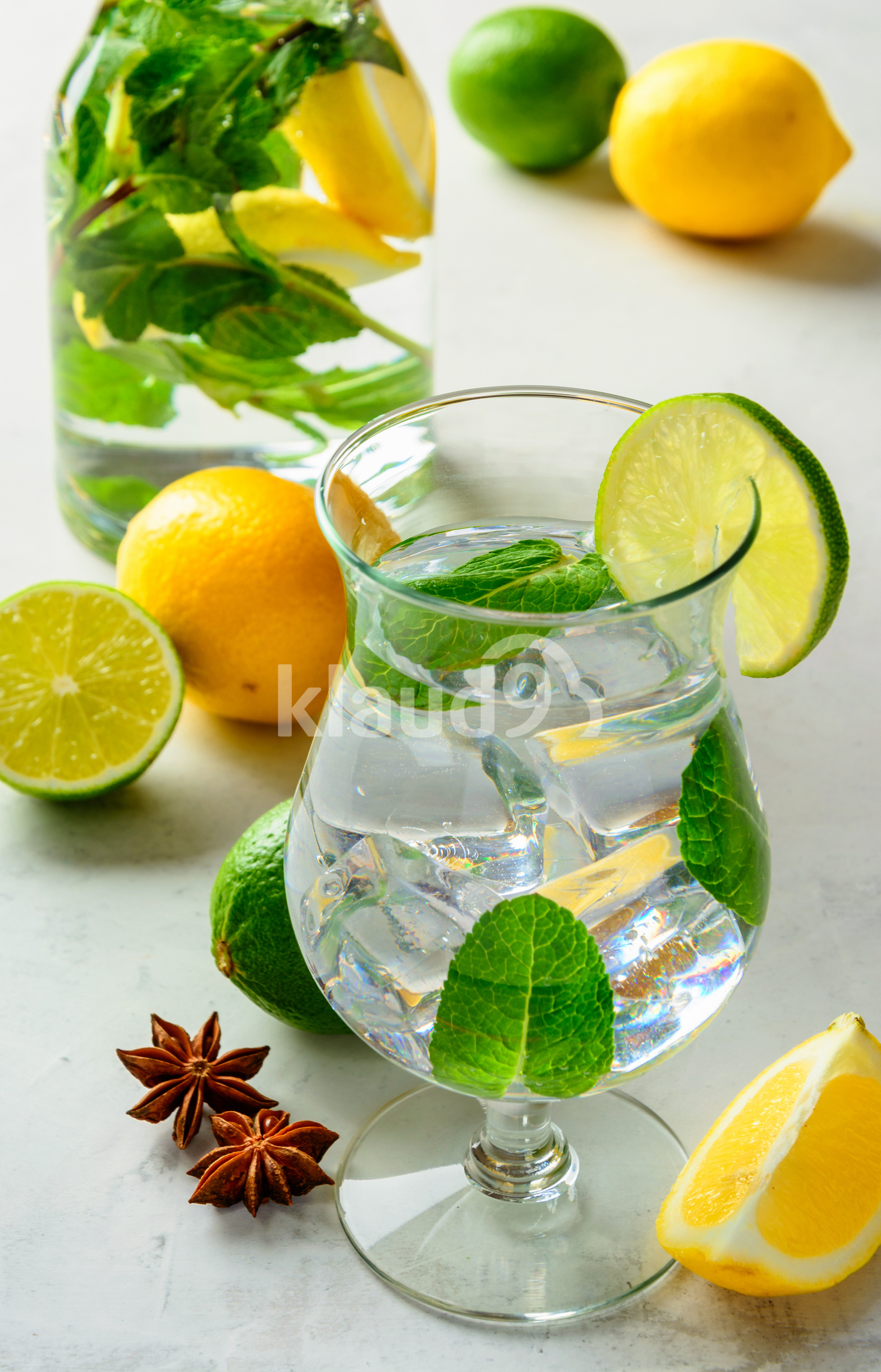 lemonade in a glass on a white background.