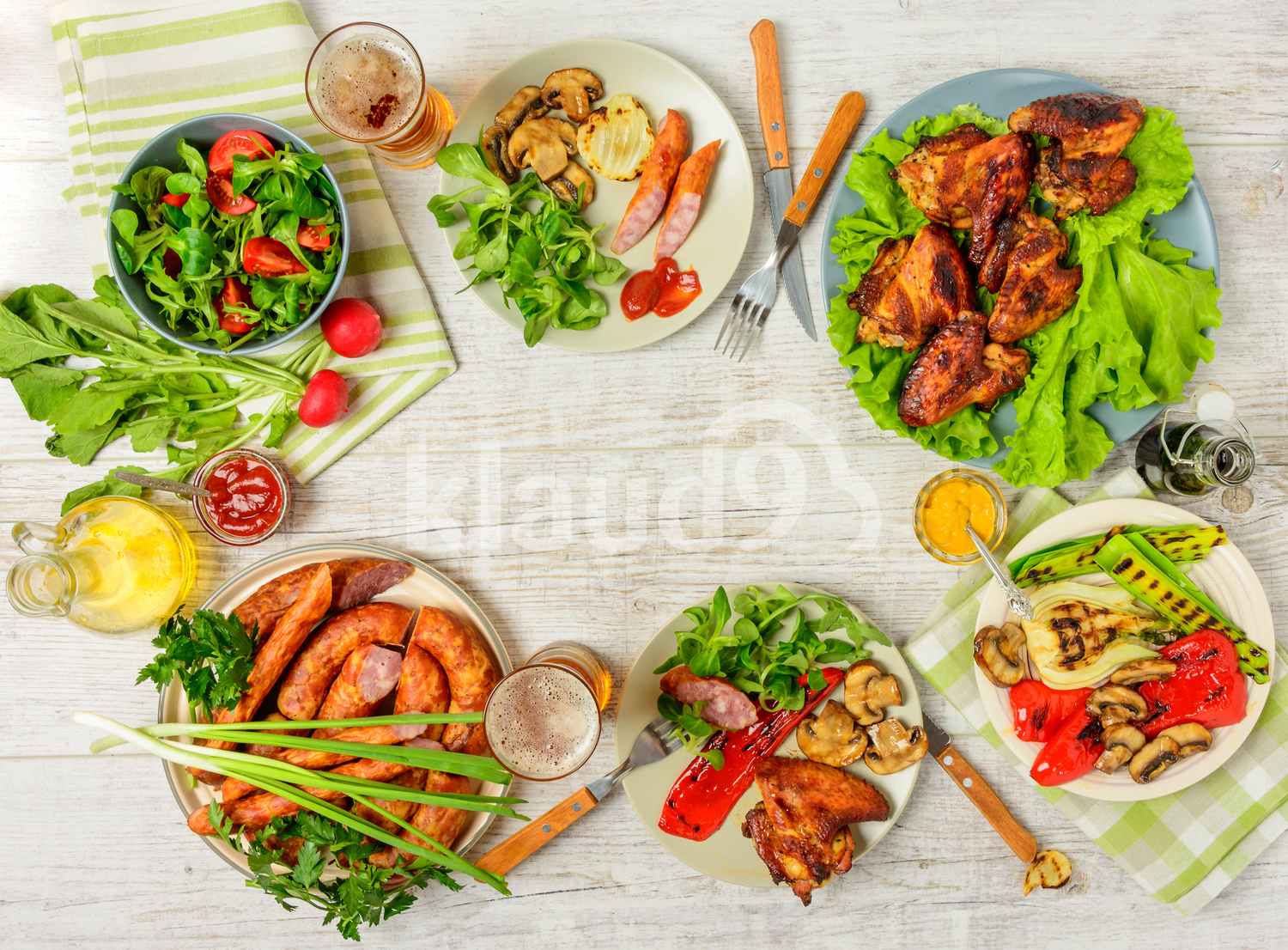 Dinner table with variety food