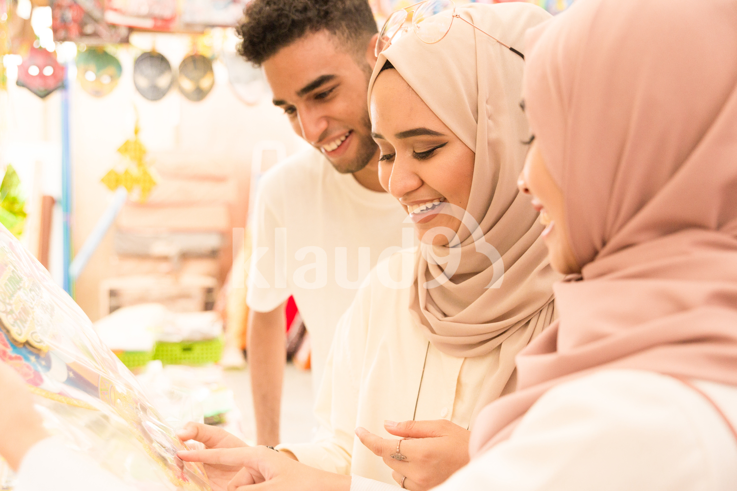 Young muslim group shopping